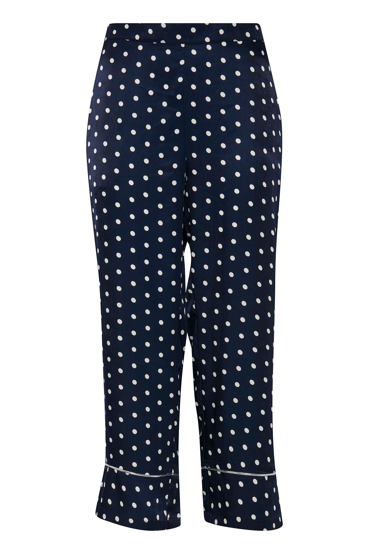 Image of   Pulz Jeans Dame Culotte bukser - Marineblå/hvid
