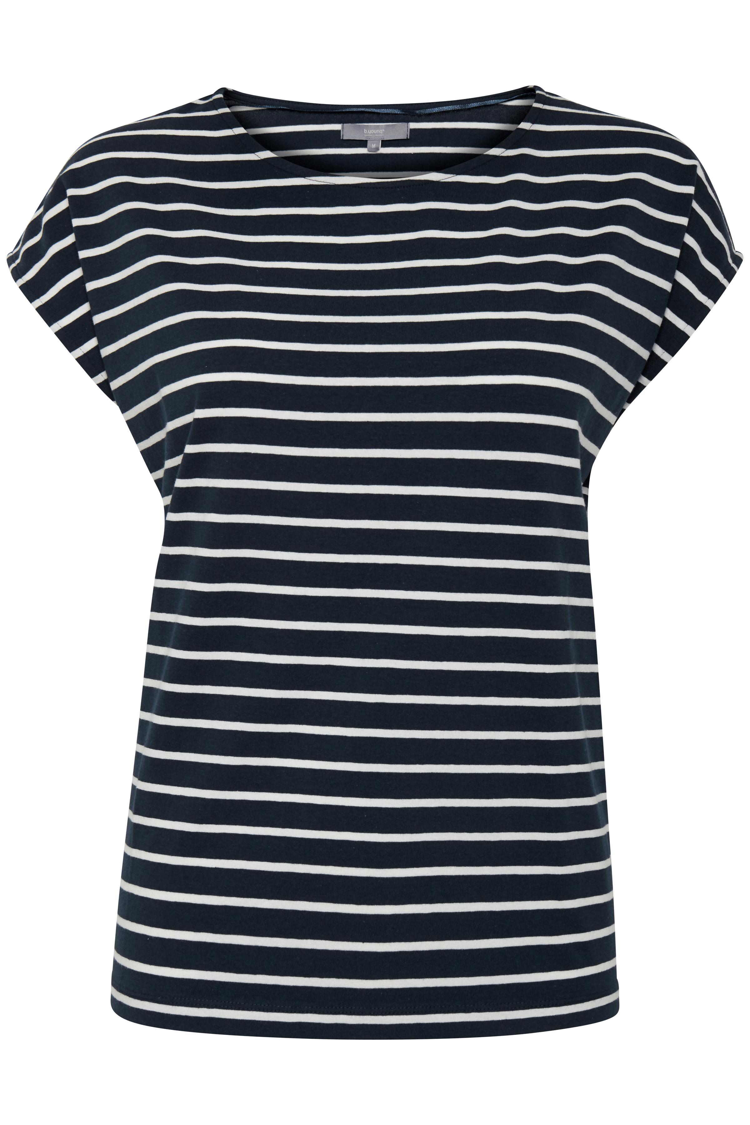 Image of b.young Dame T-shirt - Marineblå/hvid