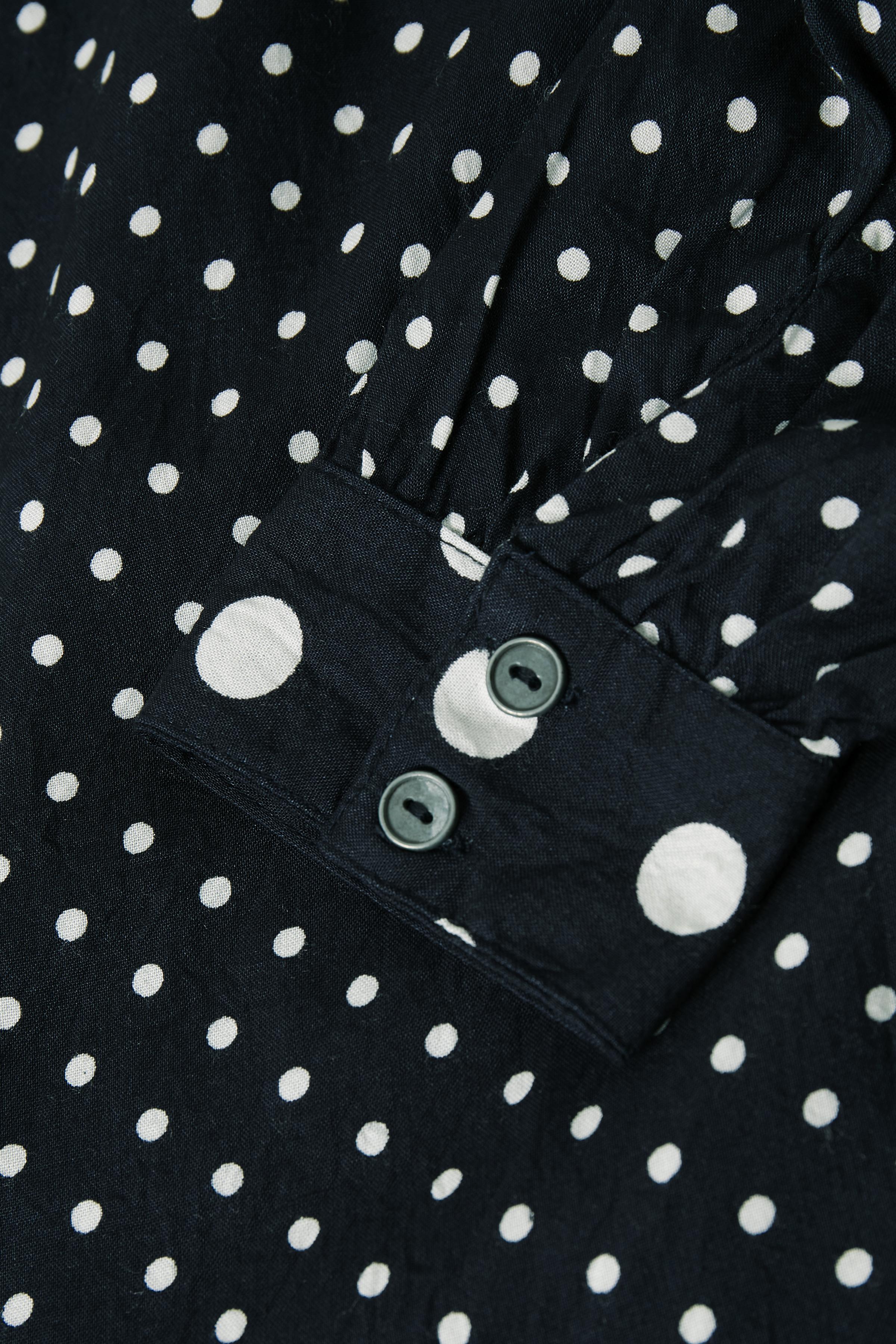 Marineblå/hvid Langærmet bluse  fra Kaffe – Køb Marineblå/hvid Langærmet bluse  fra str. 34-46 her