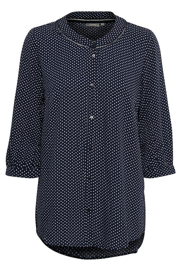 bd9634bae272 Marineblå hvid Langærmet skjorte fra Fransa – Køb Marineblå hvid Langærmet  skjorte fra str. XS-XXL her