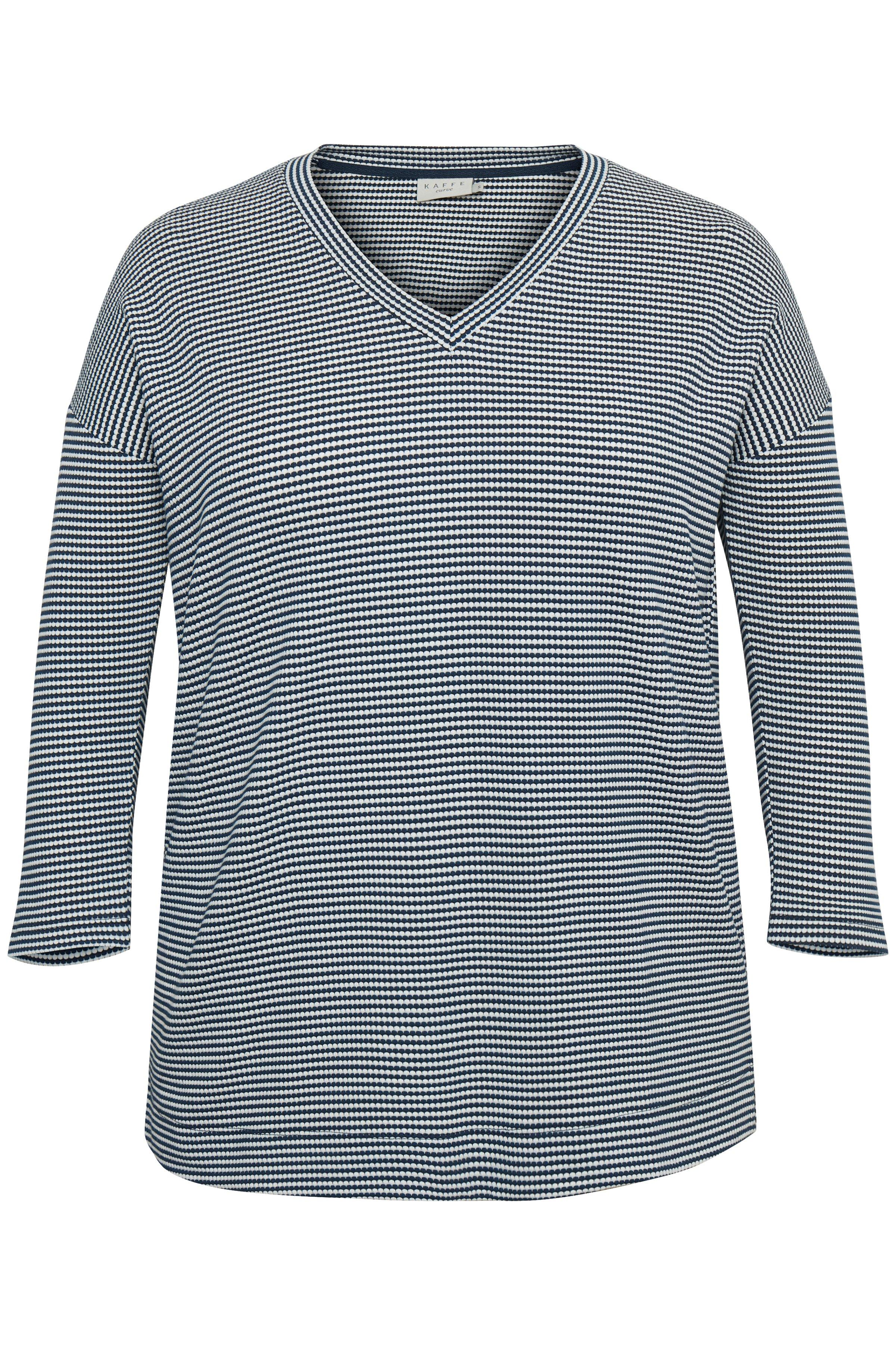 Image of Kaffe Curve Dame T-shirt - Marineblå/hvid