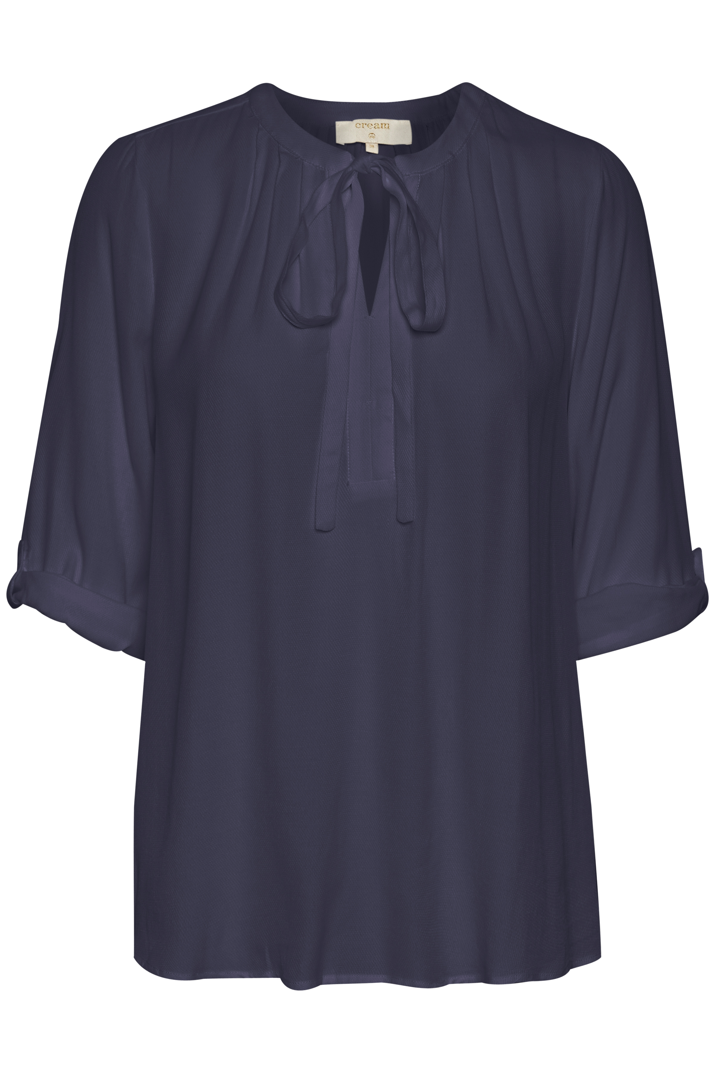 Image of Cream Dame Kortærmet bluse - Marineblå