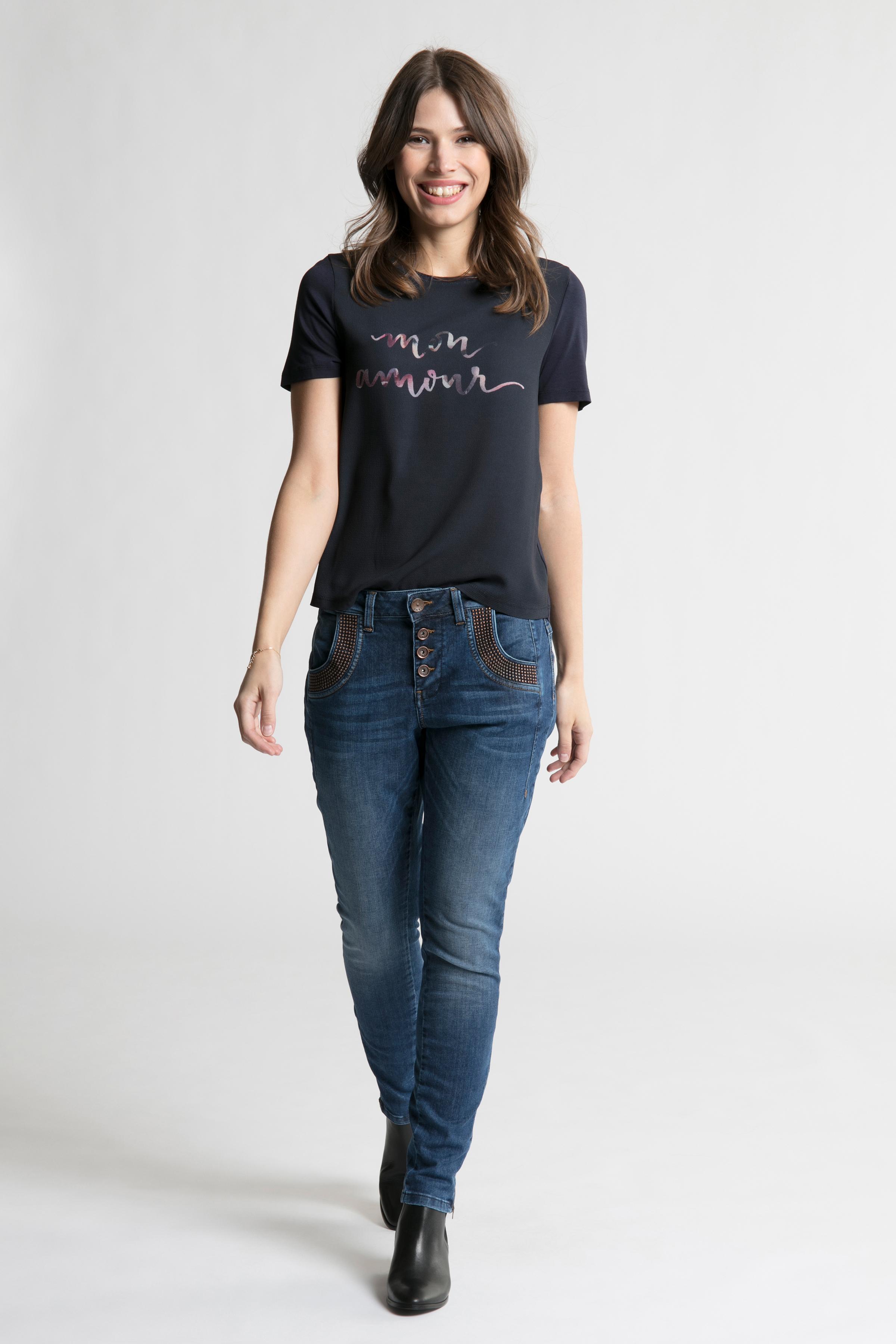 Marineblå Kortærmet T-shirt  fra Bon'A Parte – Køb Marineblå Kortærmet T-shirt  fra str. S-2XL her