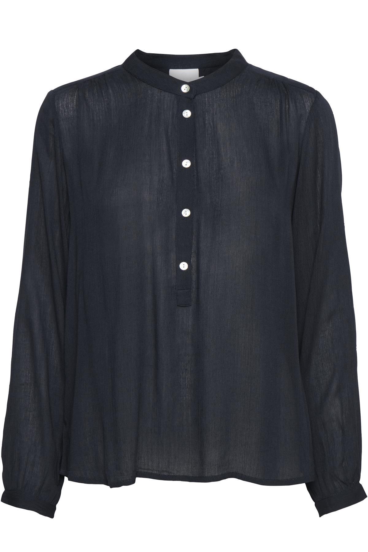 Marineblå Langærmet bluse fra Kaffe – Køb Marineblå Langærmet bluse fra str. 34-46 her