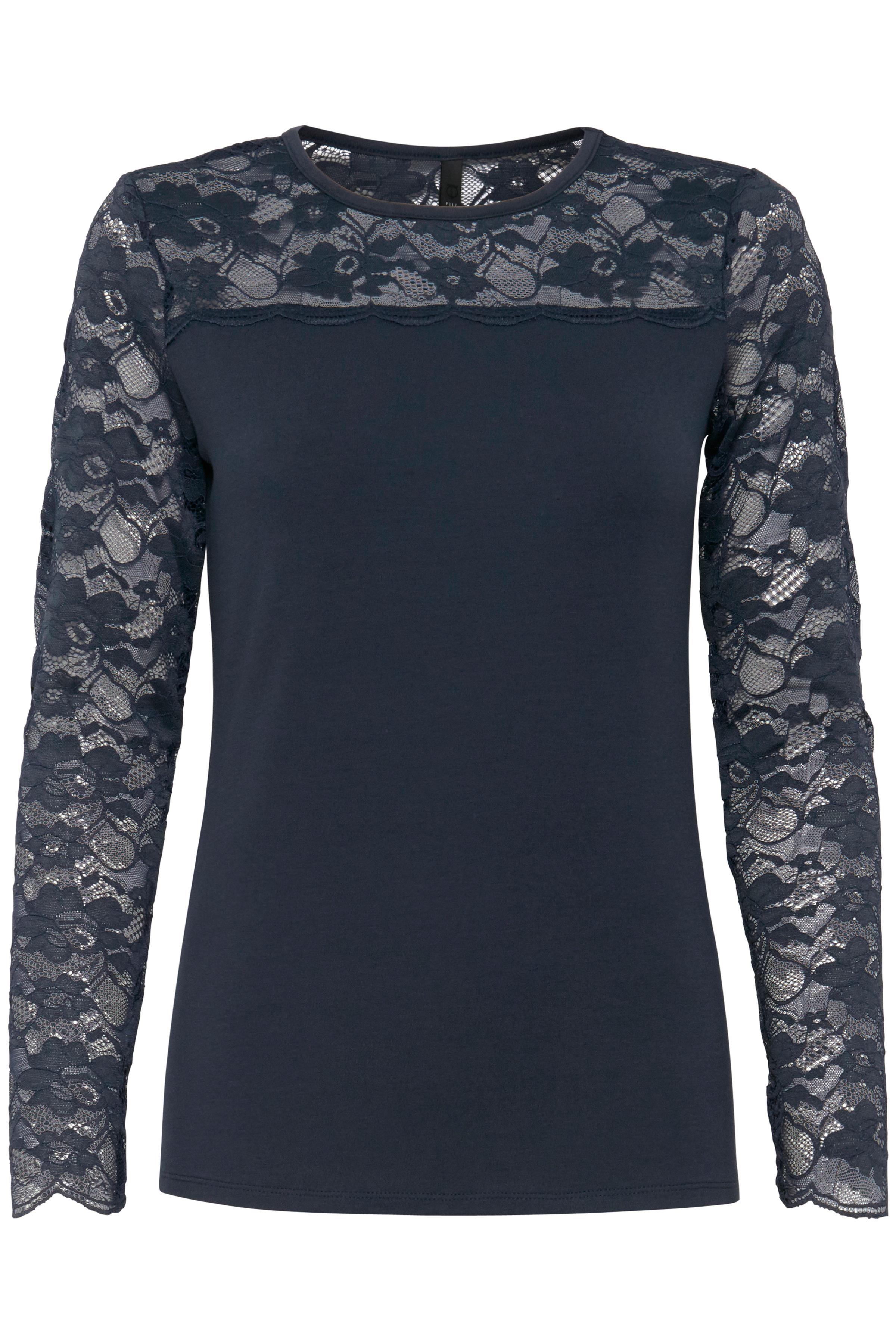 Marineblå Langærmet bluse fra Pulz Jeans – Køb Marineblå Langærmet bluse fra str. XS-XXL her