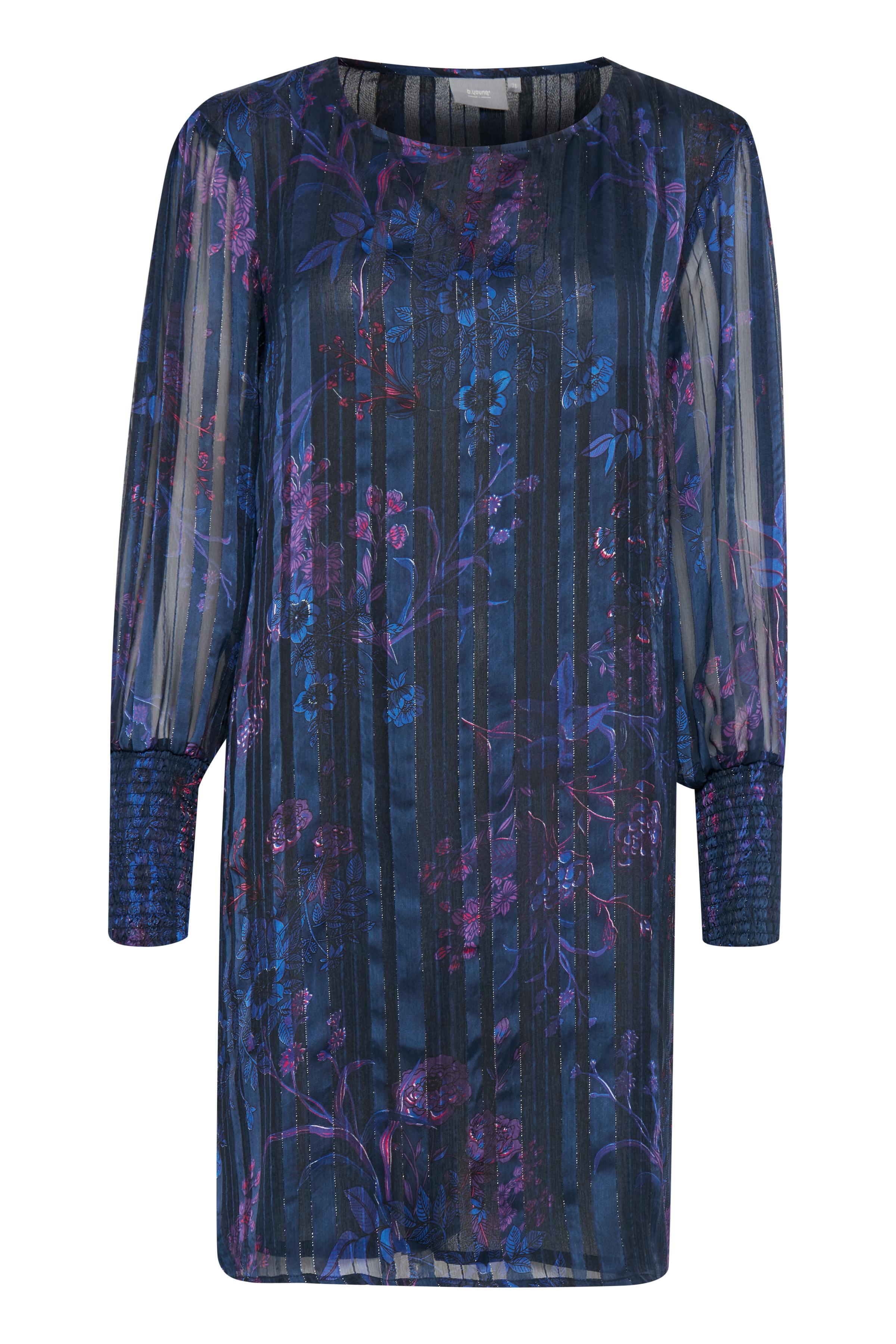 b.young Dame A-formet kjole - Marineblå/lilla