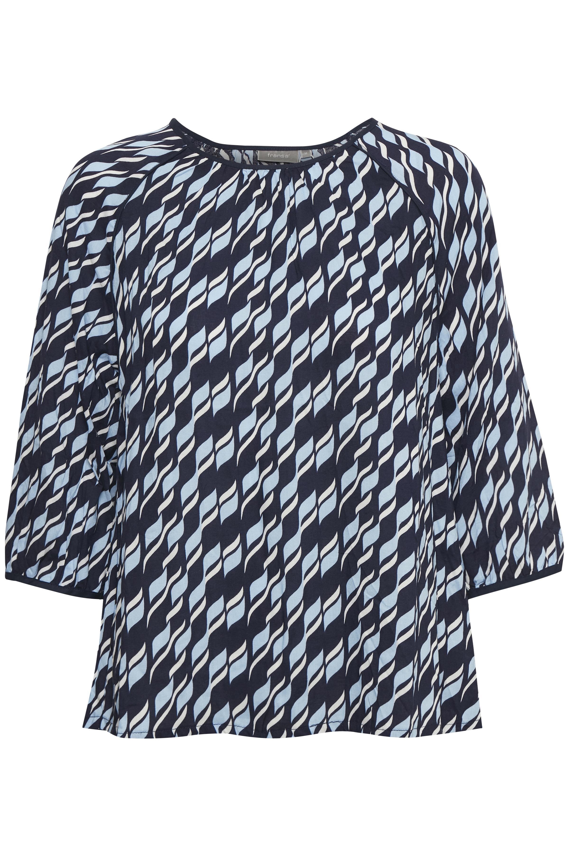 Marineblå/lyseblå Kortærmet bluse fra Fransa – Køb Marineblå/lyseblå Kortærmet bluse fra str. XS-XXL her