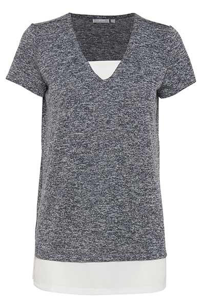 Fransa Dame Virkelig fin Nirex T-shirt  - Marineblå meleret