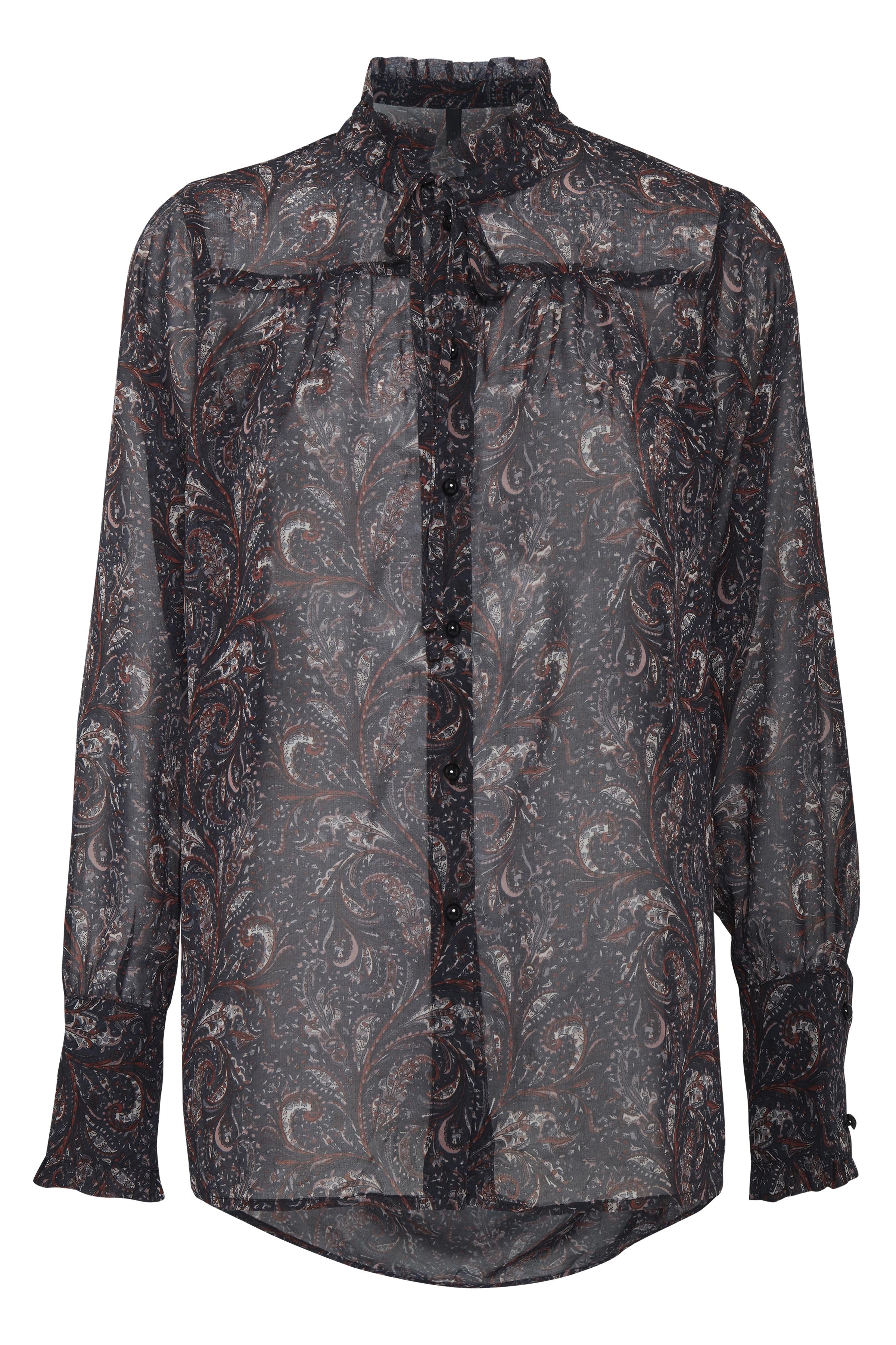 Image of Pulz Jeans Dame Langærmet skjorte - Marineblå/mørkerød