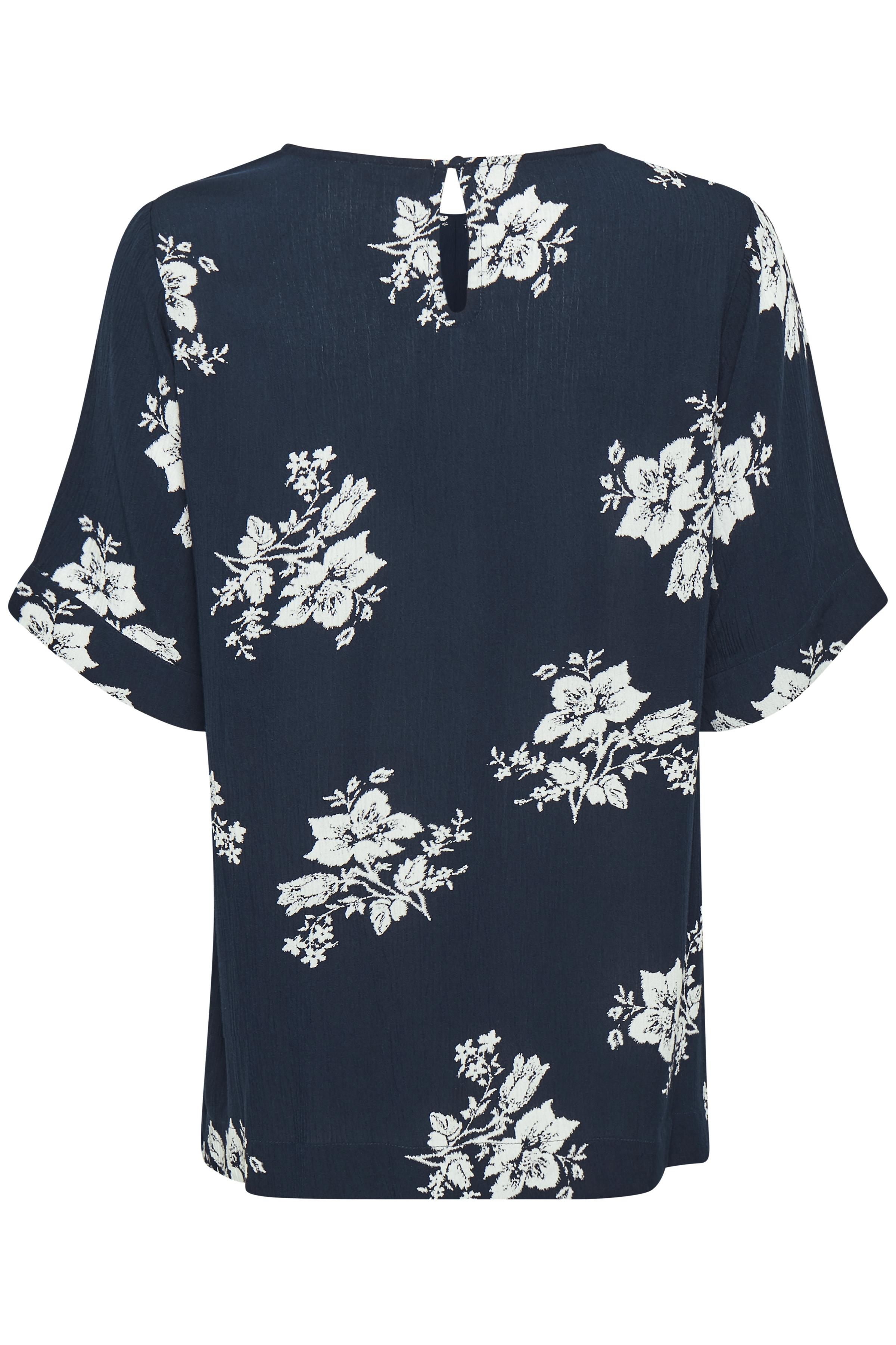 Marineblå/off-white Bluse  fra Bon'A Parte – Køb Marineblå/off-white Bluse  fra str. S-2XL her