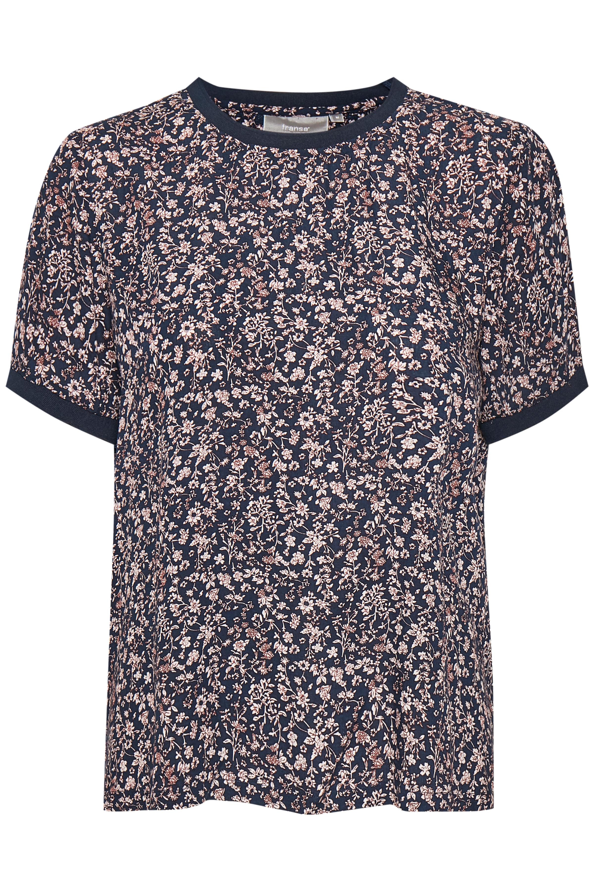 Marineblå/off-white Kortærmet bluse fra Fransa – Køb Marineblå/off-white Kortærmet bluse fra str. L-XXL her