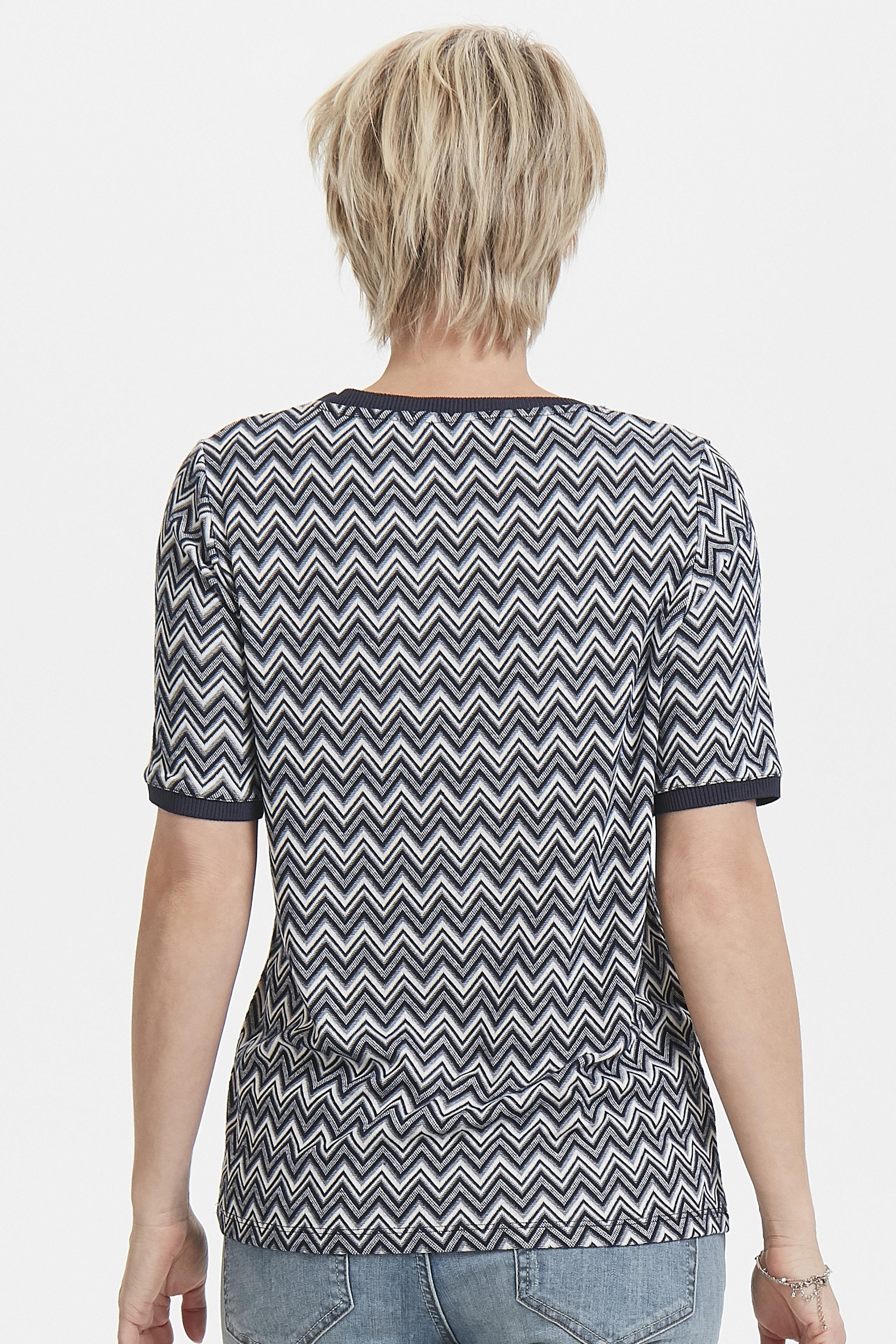 Marineblå/off-white Kortærmet bluse  fra Bon'A Parte – Køb Marineblå/off-white Kortærmet bluse  fra str. S-2XL her