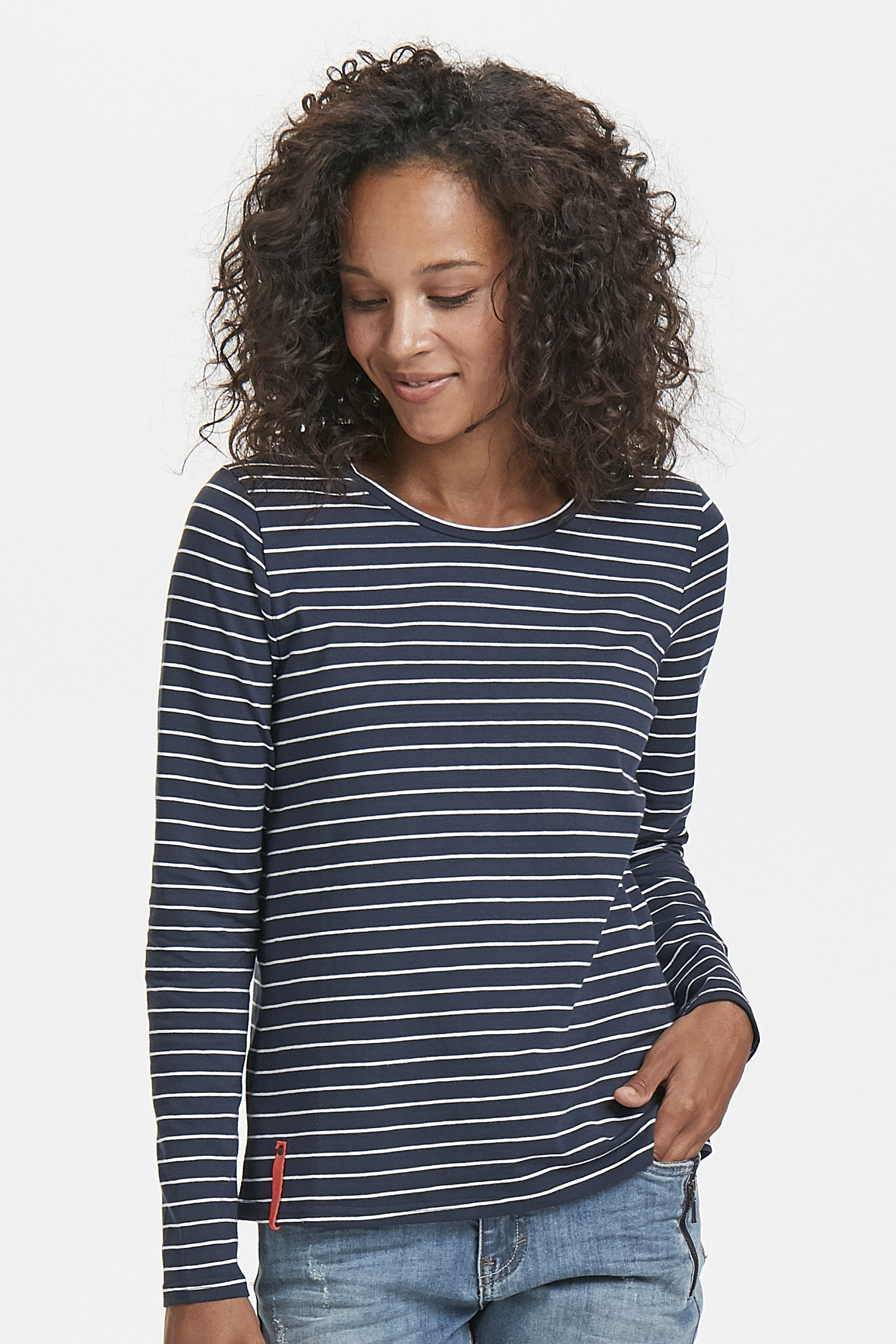 Marineblå/off-white Langærmet T-shirt fra Bon'A Parte – Køb Marineblå/off-white Langærmet T-shirt fra str. S-2XL her