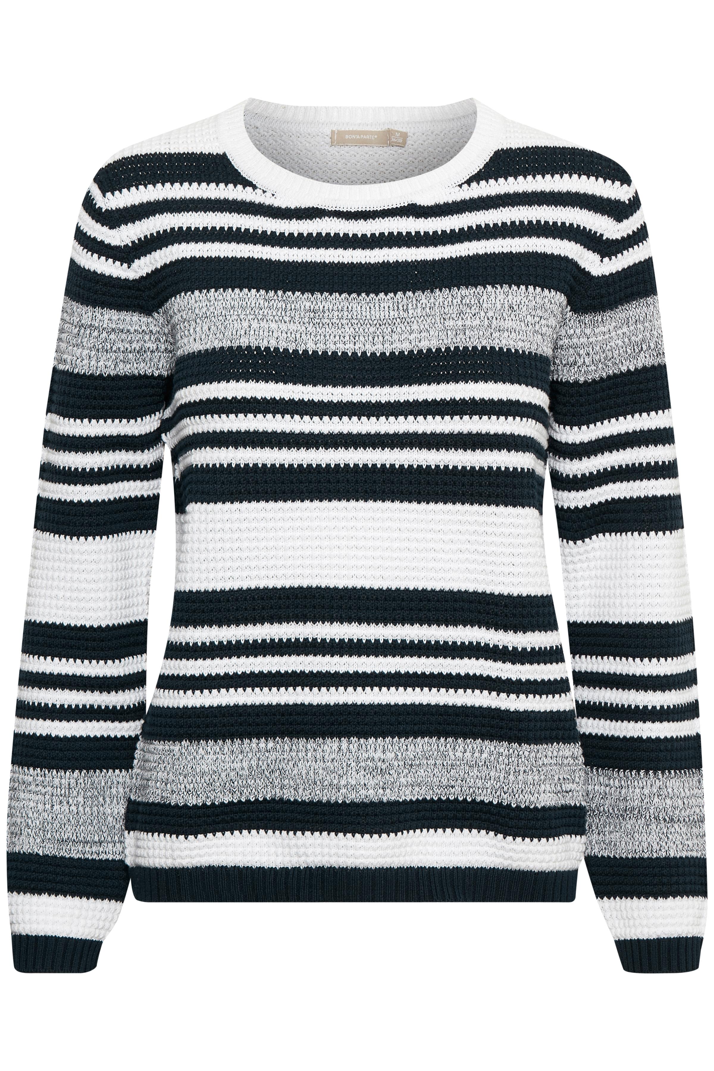 BonA Parte Dame Strikket sweatshirt - Marineblå/off-white