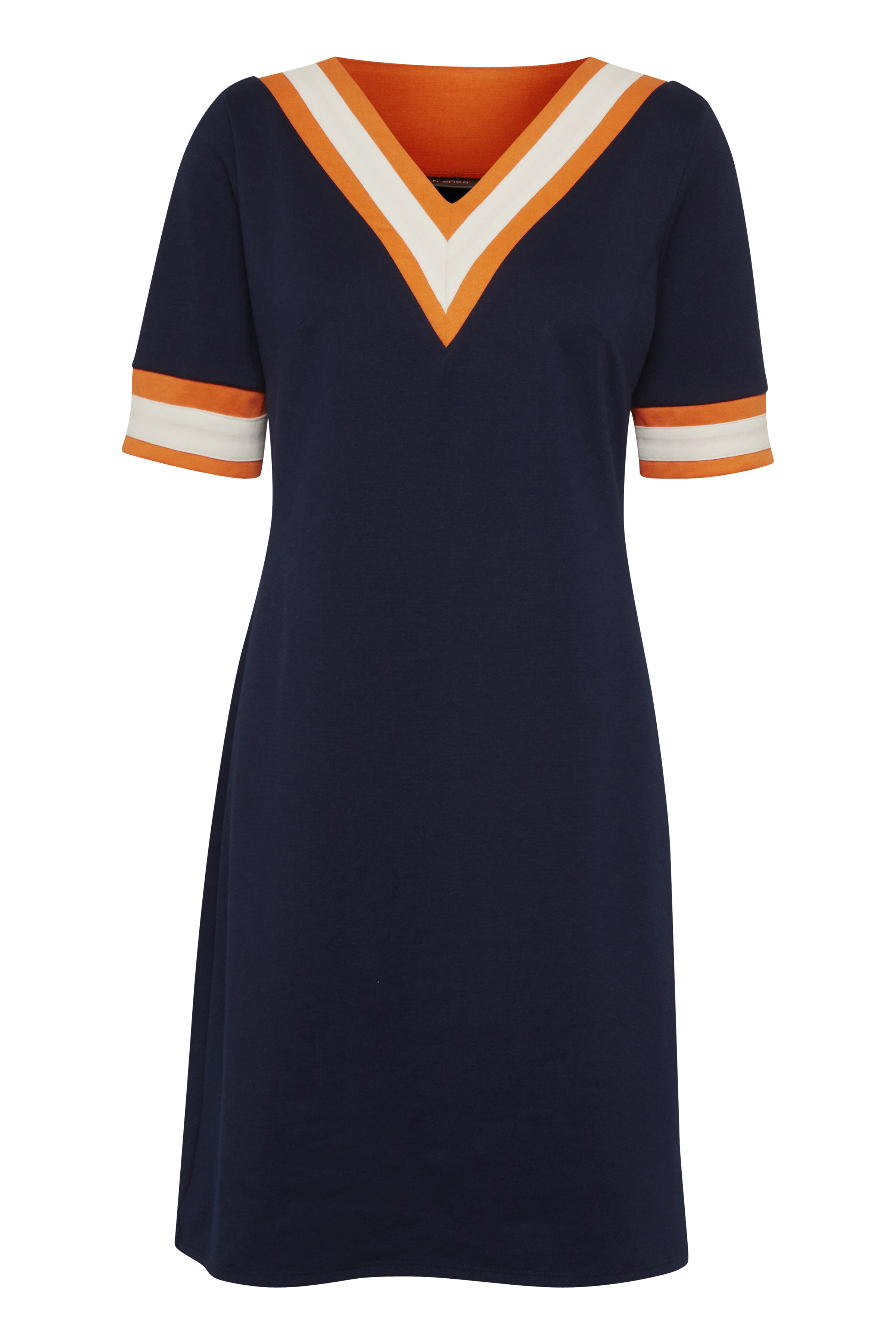 Fransa Dame Jersey kjole - Marineblå/orange