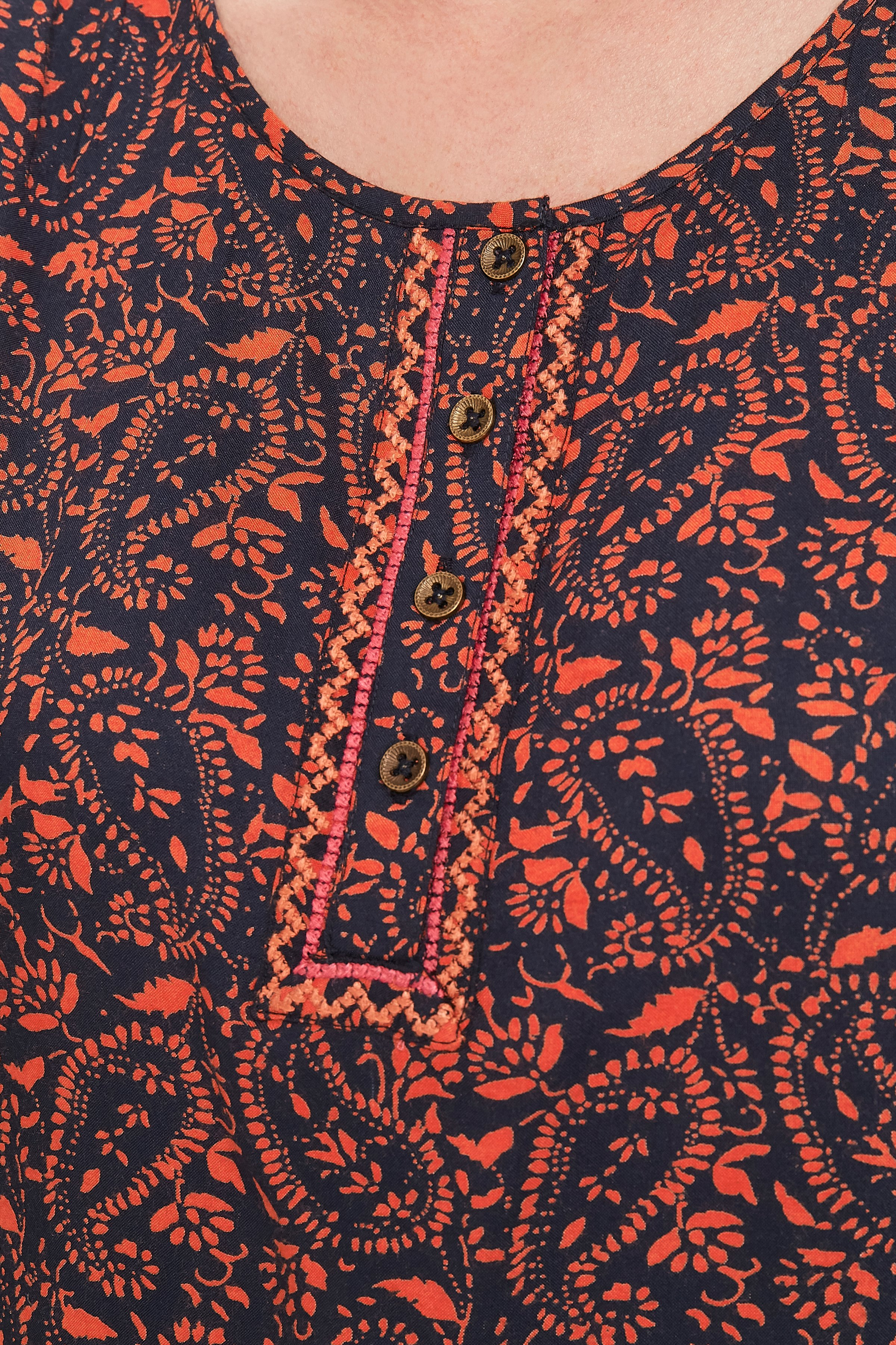 Marineblå/orange Top fra Bon'A Parte – Køb Marineblå/orange Top fra str. S-2XL her