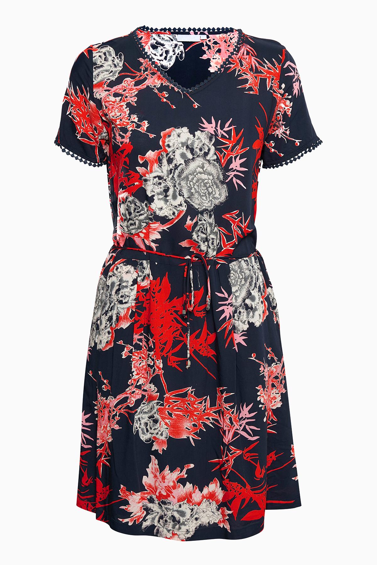 Fransa Dame Flot kjole - Marineblå/rød