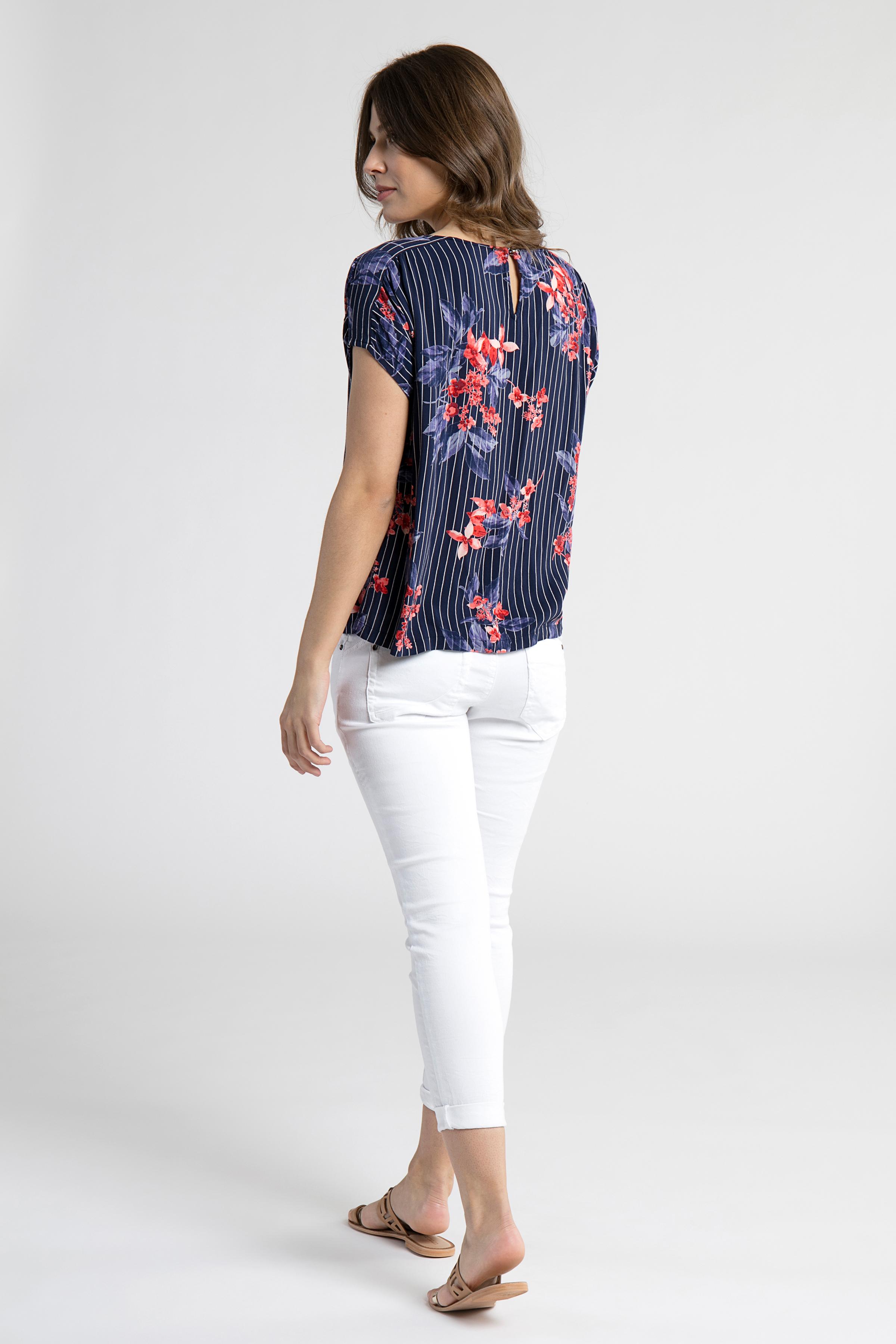 Marineblå/rød Kortærmet bluse fra Fransa – Køb Marineblå/rød Kortærmet bluse fra str. XS-XXL her