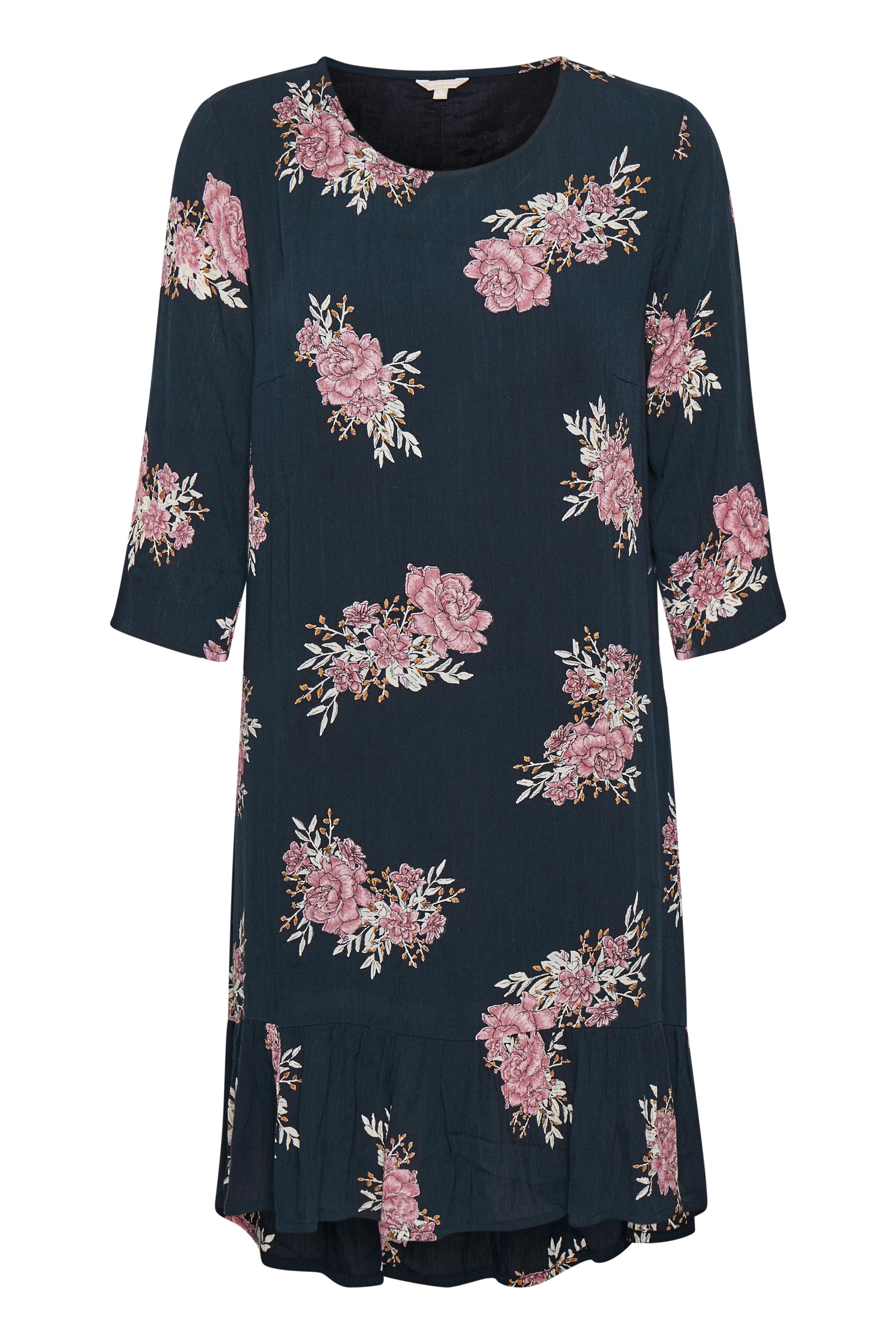 Image of BonA Parte Dame BONA PARTE kjole med rund hals. 3/4-ærmer. Gennemknappet bagtil. All-over print. Flæse forneden. Kjolen - Marineblå/rosa