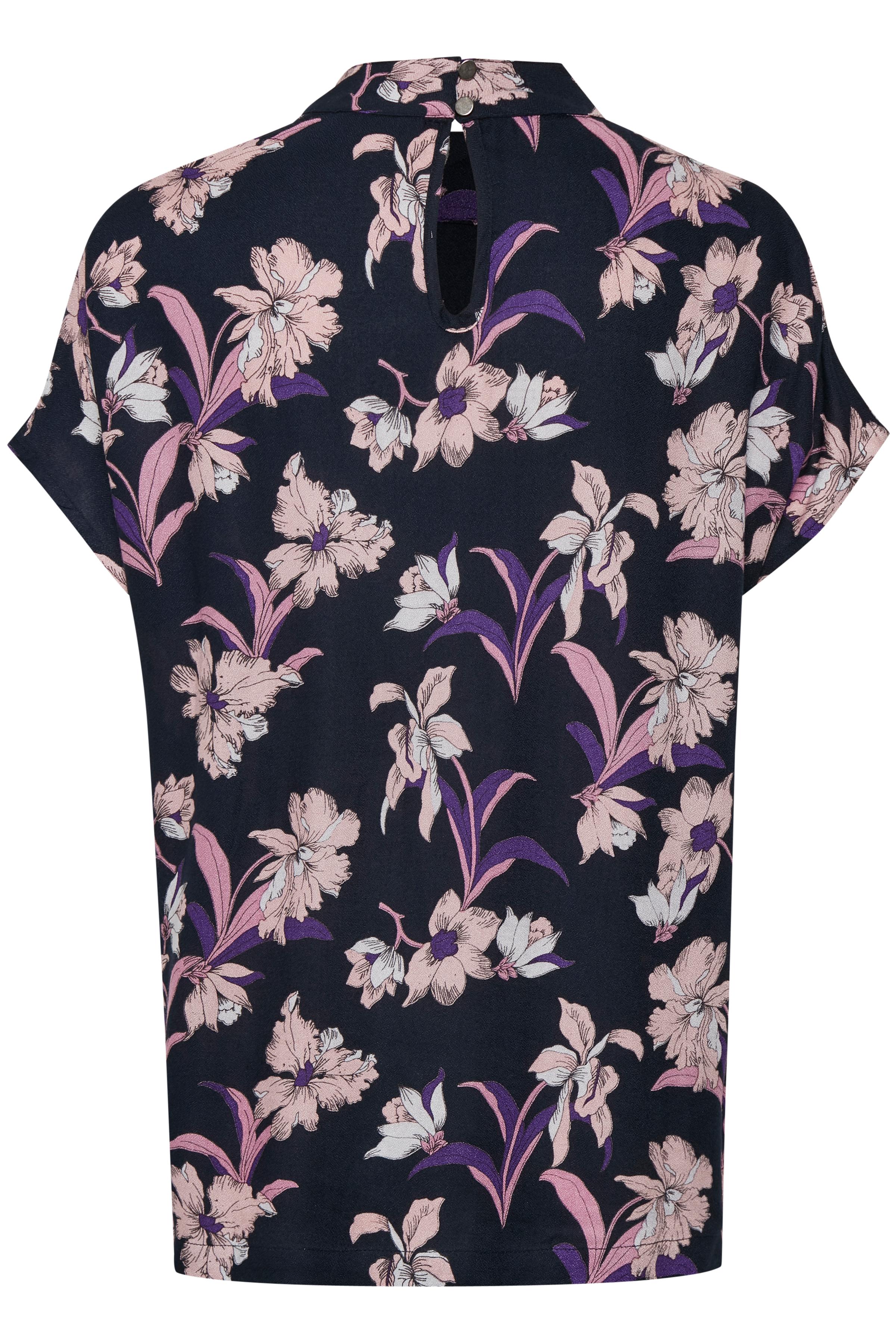 Marineblå/rosa Kortærmet bluse  fra Kaffe – Køb Marineblå/rosa Kortærmet bluse  fra str. 34-46 her