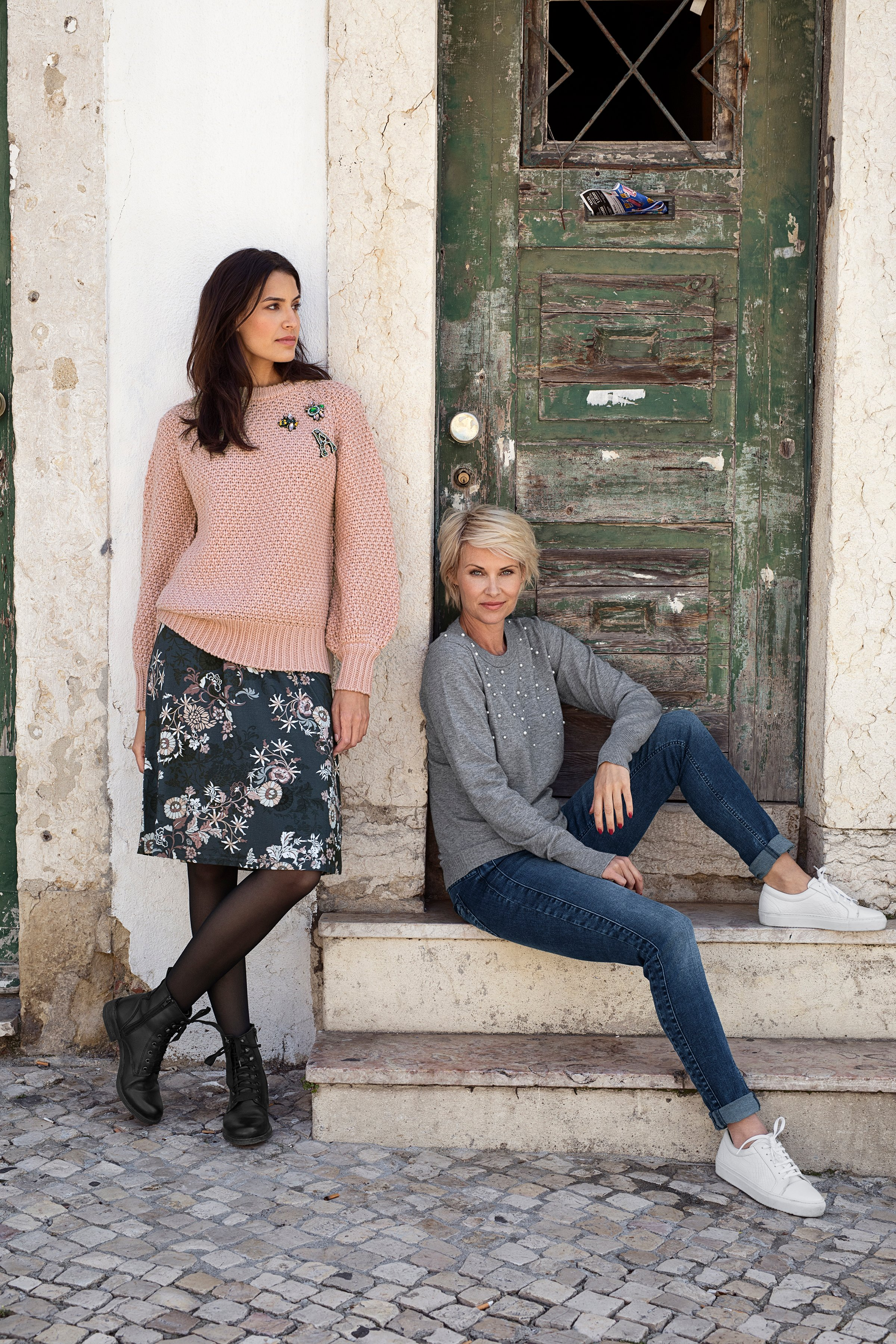 Marineblå/rosa Nederdel fra Bon'A Parte – Køb Marineblå/rosa Nederdel fra str. S-2XL her