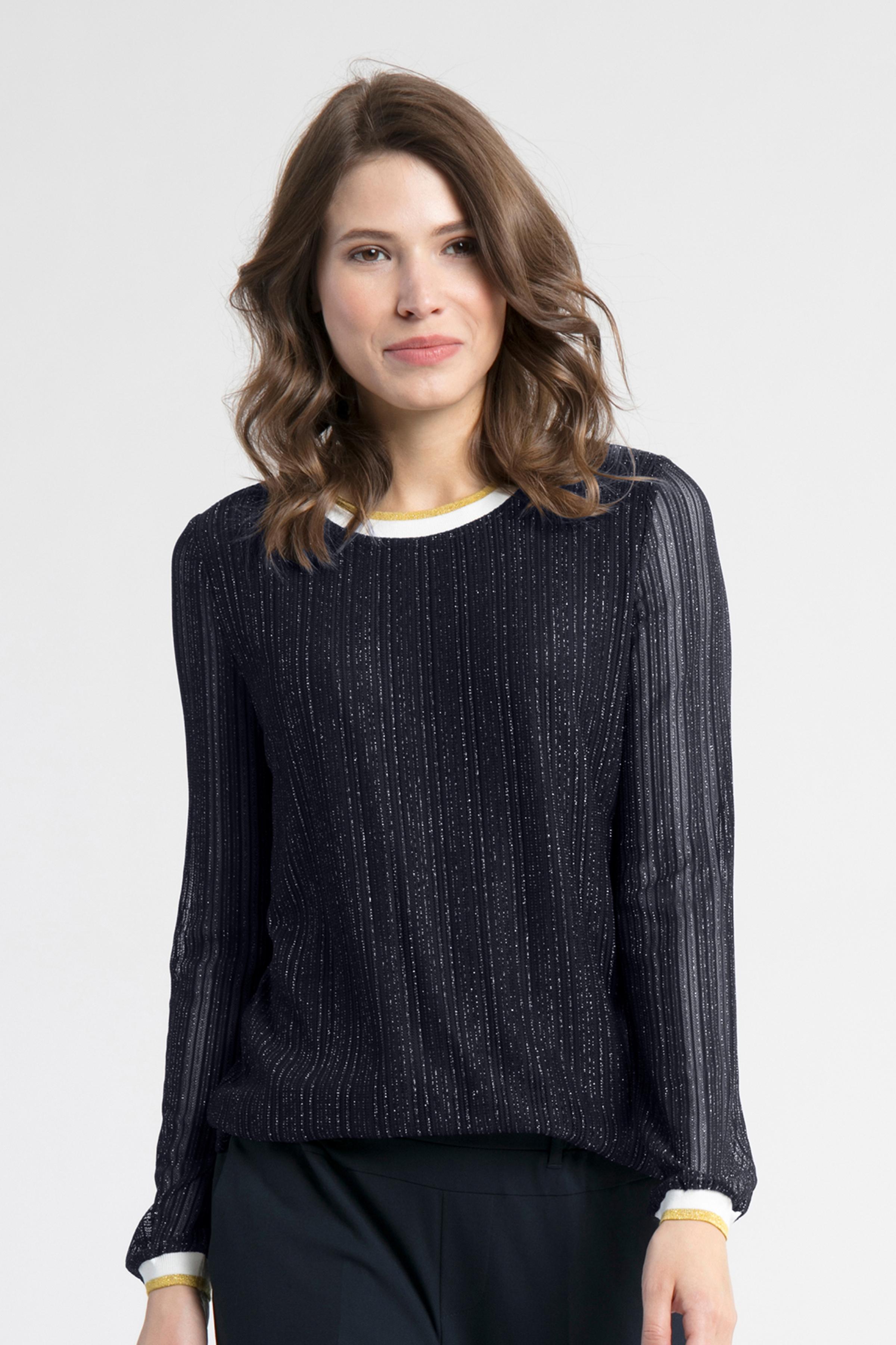 Marineblå/sølv Langærmet bluse fra Kaffe – Køb Marineblå/sølv Langærmet bluse fra str. XS-XXL her