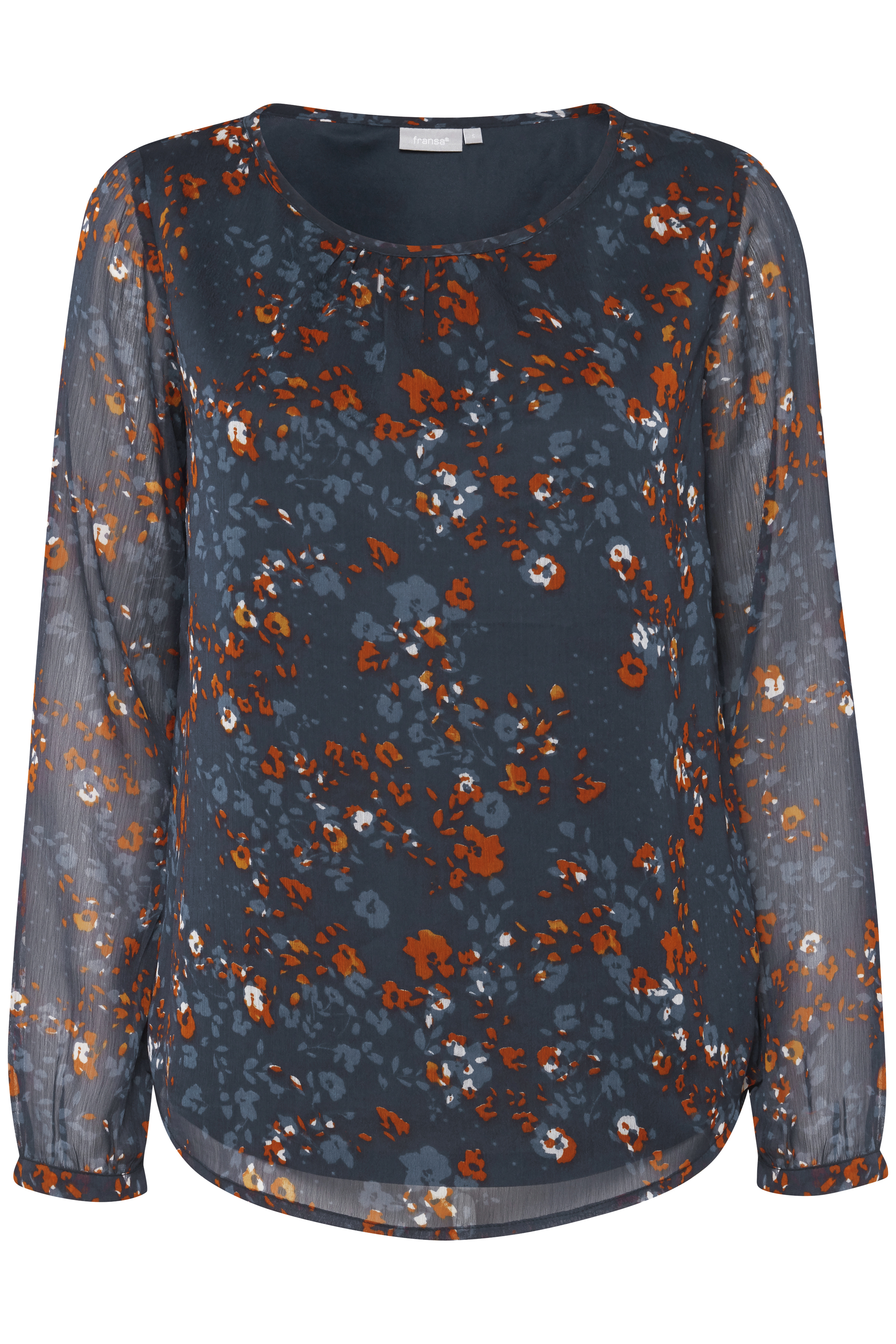 Marineblau/gebranntes rot Langarm-Bluse von Fransa – Shoppen Sie Marineblau/gebranntes rot Langarm-Bluse ab Gr. XS-XXL hier