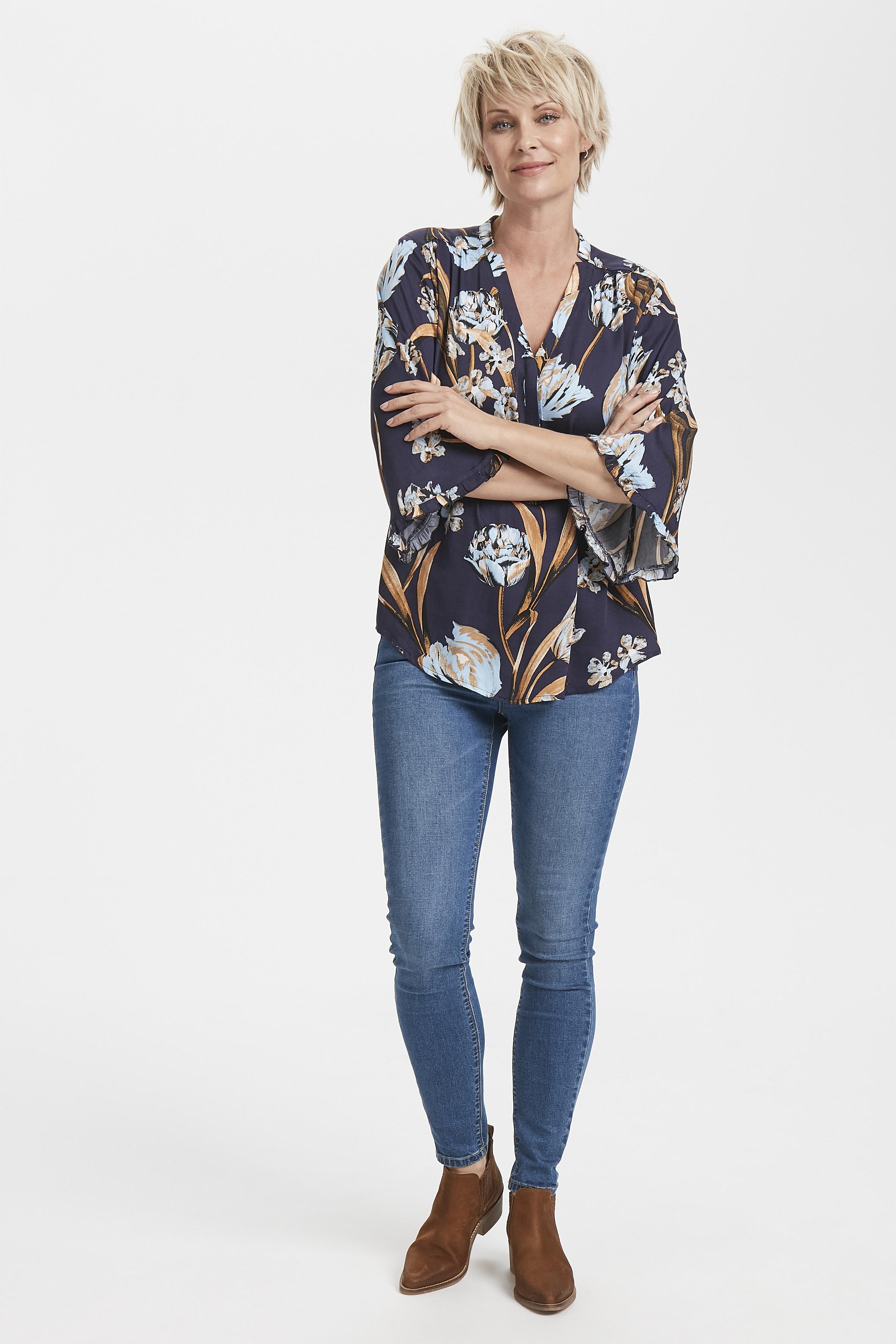 Marineblau/hellblau Langarm-Bluse  von Culture – Shoppen Sie Marineblau/hellblau Langarm-Bluse  ab Gr. XS-XXL hier