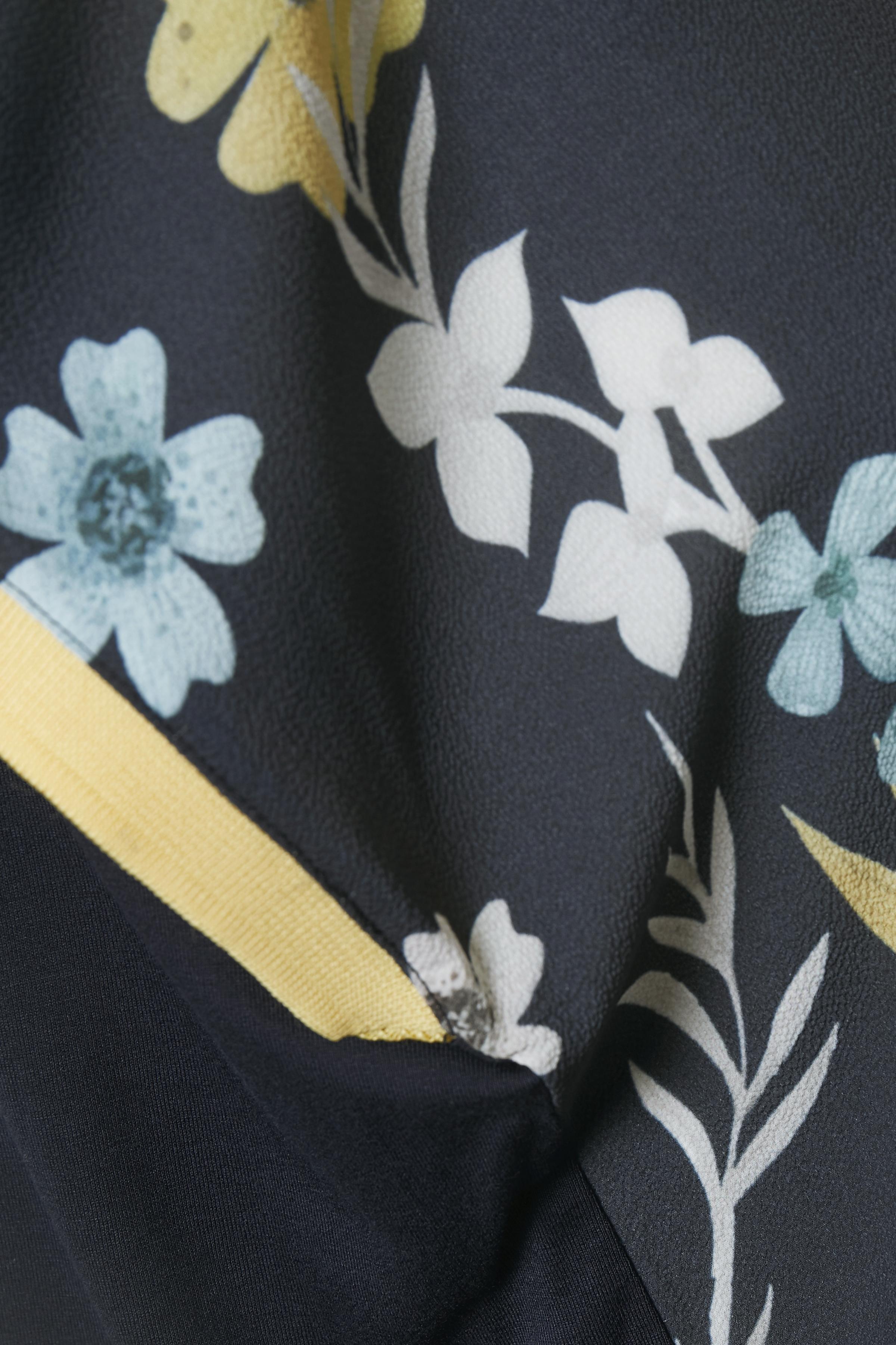 Marineblau/hellgelb Kurzarm-Bluse  von Bon'A Parte – Shoppen Sie Marineblau/hellgelb Kurzarm-Bluse  ab Gr. S-2XL hier