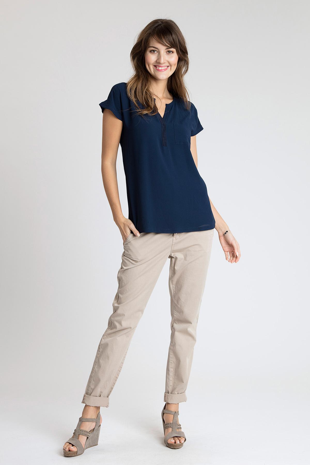Marineblau Kurzarm-Bluse von Fransa – Shoppen Sie Marineblau Kurzarm-Bluse ab Gr. XS-XXL hier