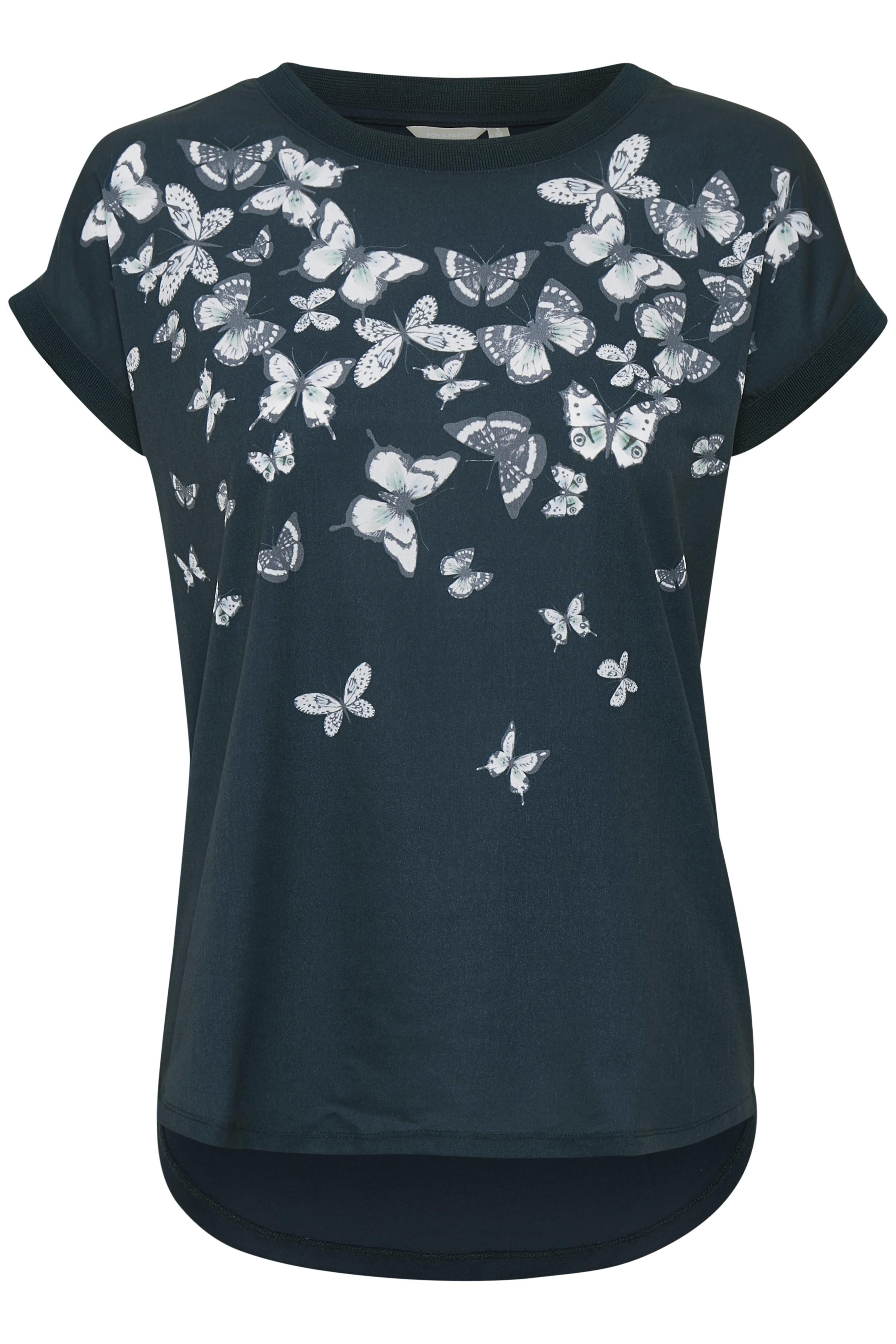 Marineblau Kurzarm-Bluse von Bon'A Parte – Shoppen Sie Marineblau Kurzarm-Bluse ab Gr. S-2XL hier