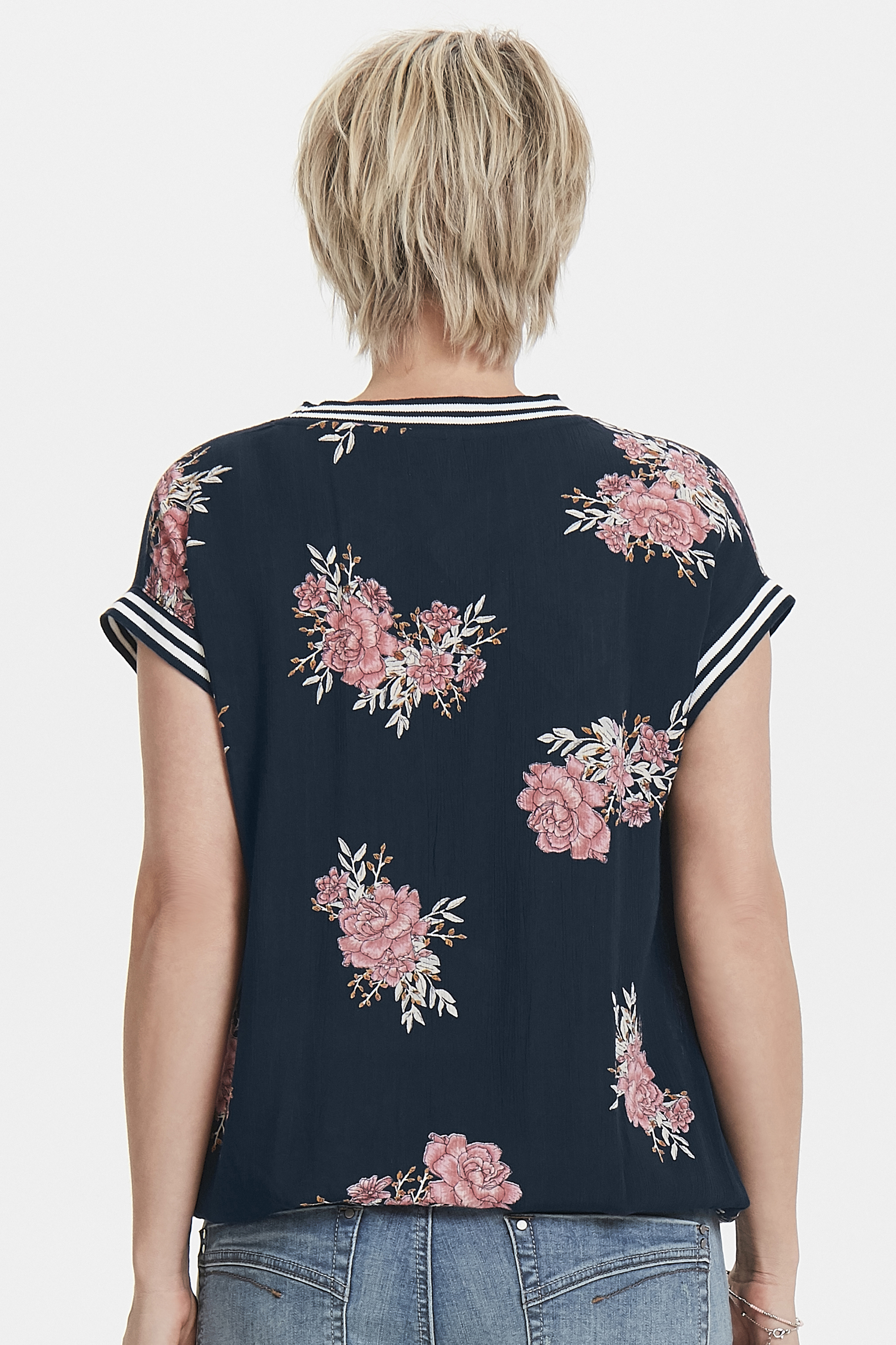Marineblau/rosa Kurzarm-Bluse  von Bon'A Parte – Shoppen Sie Marineblau/rosa Kurzarm-Bluse  ab Gr. S-2XL hier