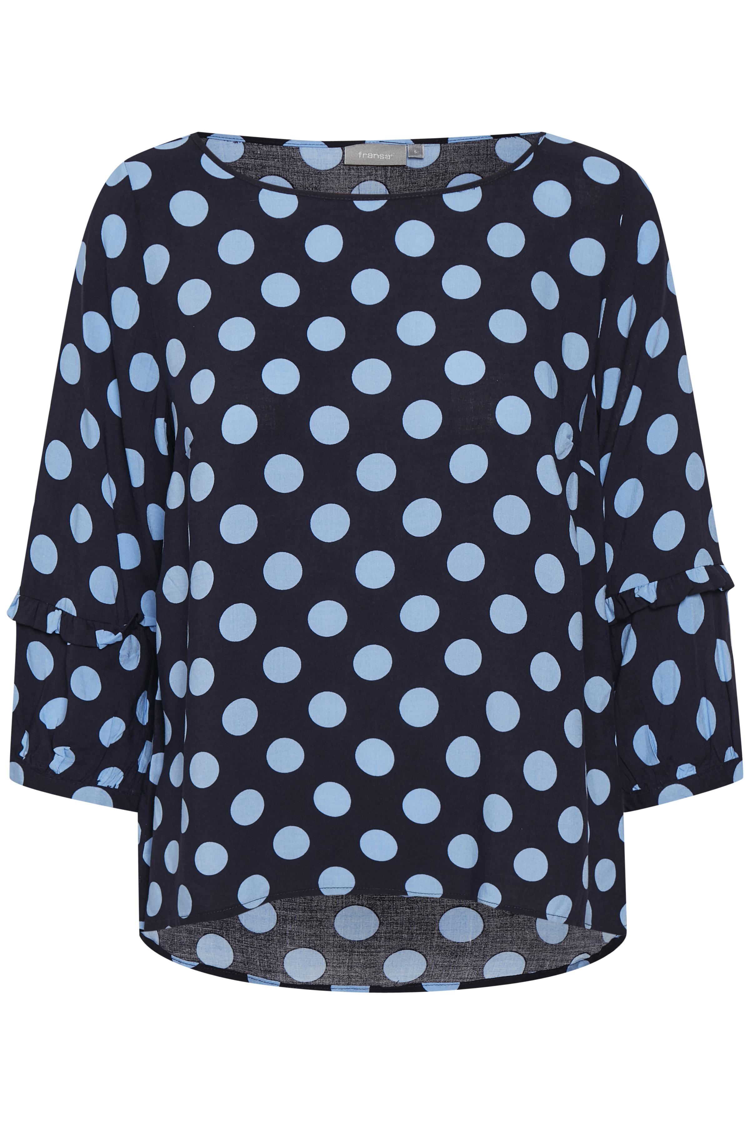 Marineblau/staubblau Kurzarm-Bluse von Fransa – Shoppen Sie Marineblau/staubblau Kurzarm-Bluse ab Gr. XS-XXL hier