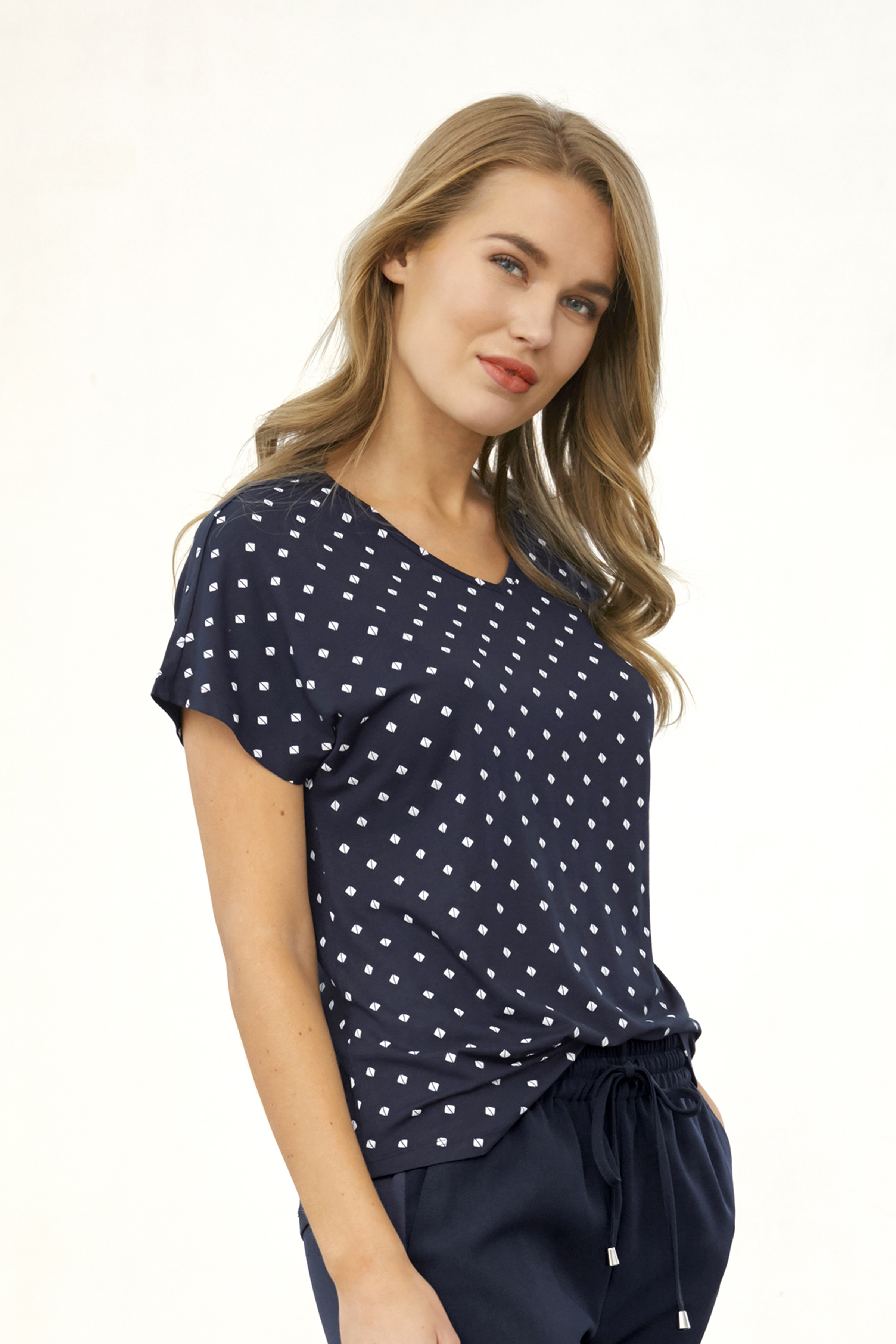 Marineblau/weiß Kurzarm-Shirt von Fransa – Shoppen Sie Marineblau/weiß Kurzarm-Shirt ab Gr. XS-XXL hier