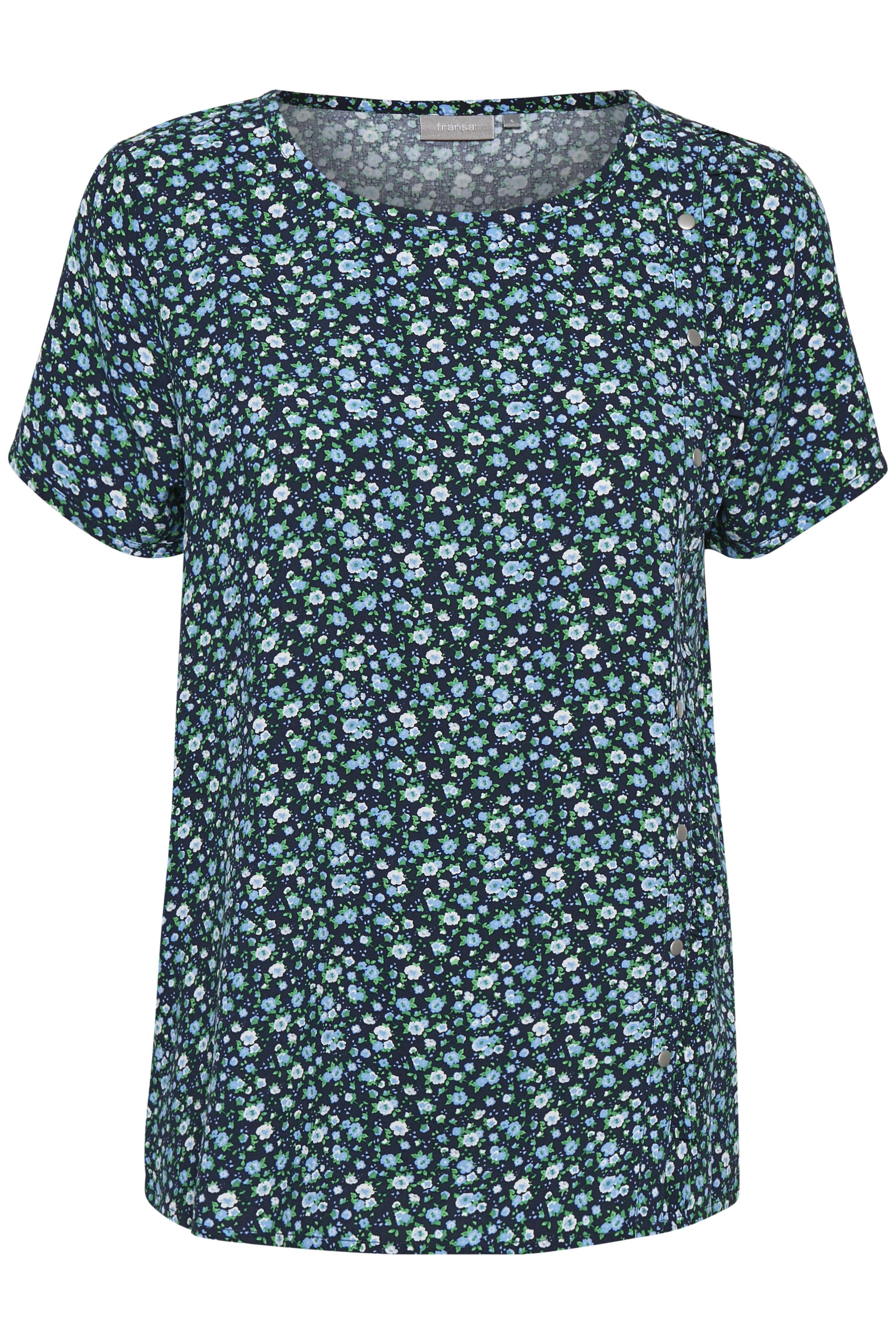 Marineblauw/blauw Korte mouwen shirt  van Fransa – Door Marineblauw/blauw Korte mouwen shirt  van maat. XS-XXL hier