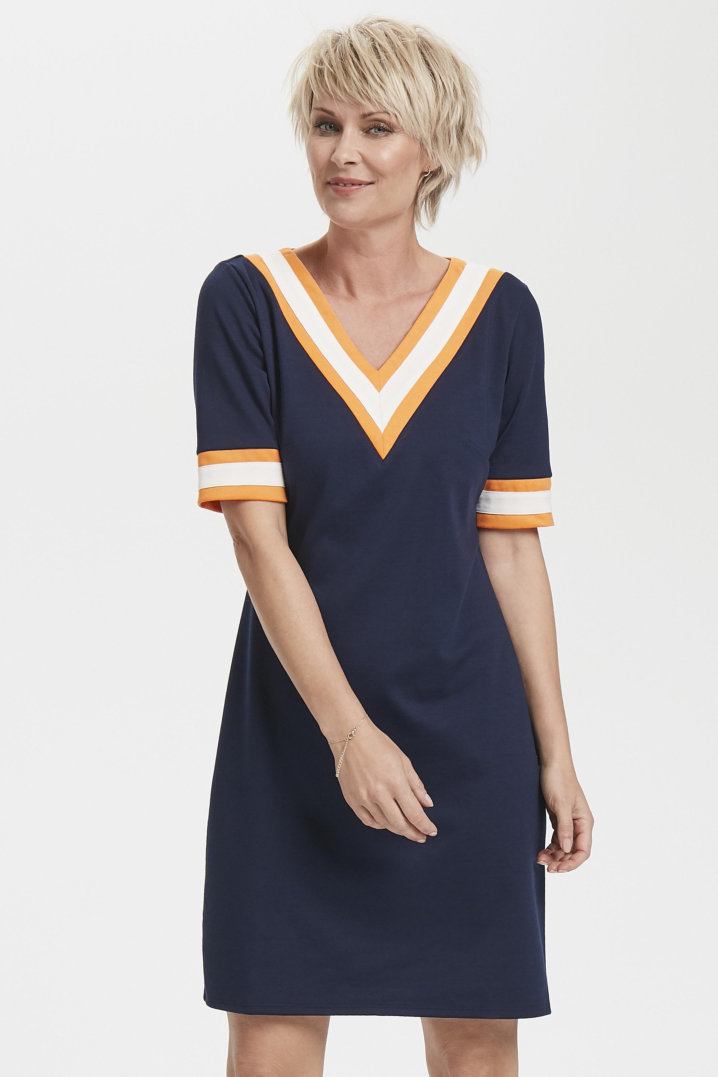 Marineblauw/oranje Jurk van Fransa – Door Marineblauw/oranje Jurk van maat. XS-XXL hier