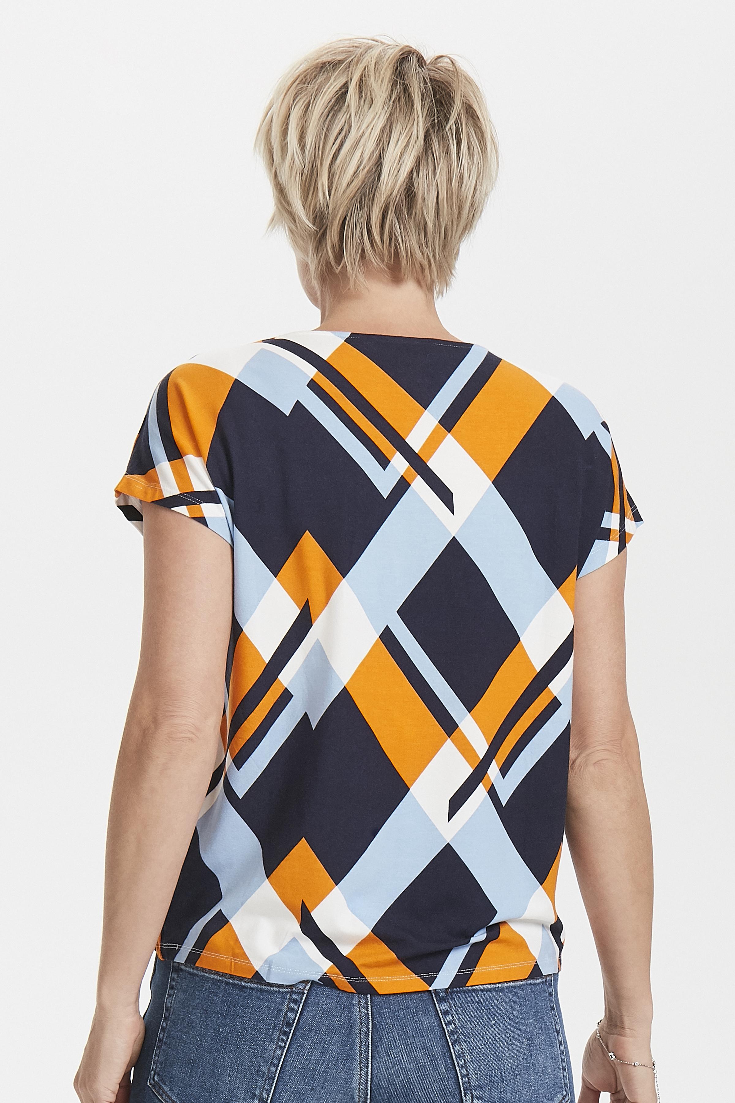 Marineblauw/oranje Korte mouwen T-shirt  van Fransa – Door Marineblauw/oranje Korte mouwen T-shirt  van maat. XS-XXL hier