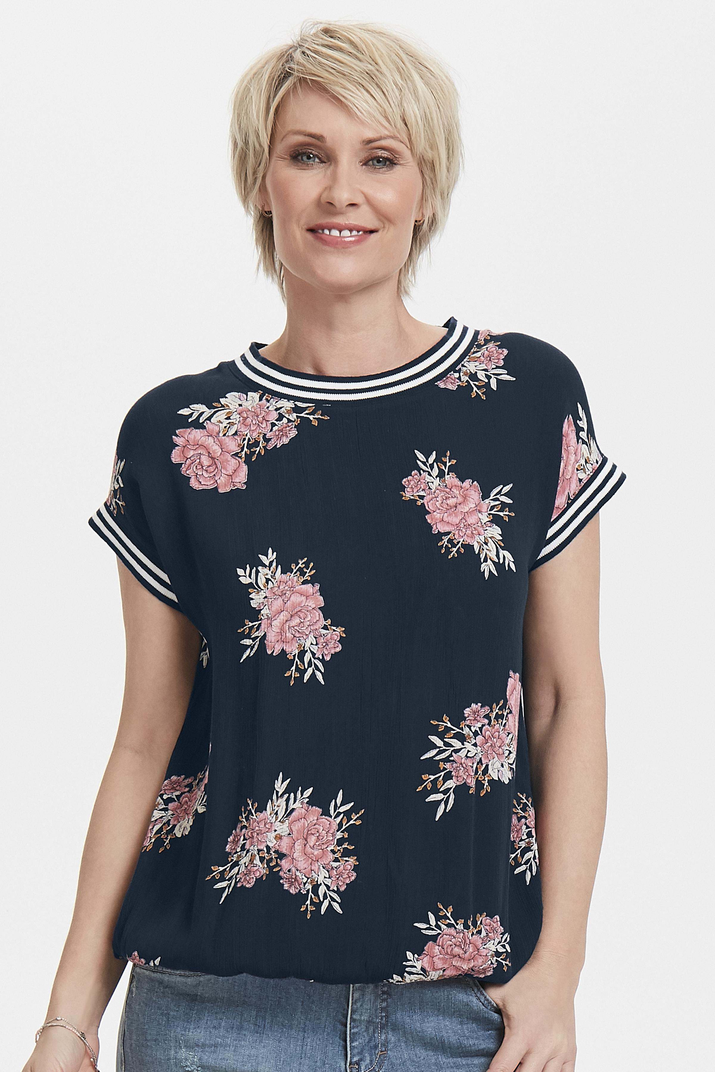 Marineblauw/roze Korte mouwen shirt  van Bon'A Parte – Door Marineblauw/roze Korte mouwen shirt  van maat. S-2XL hier