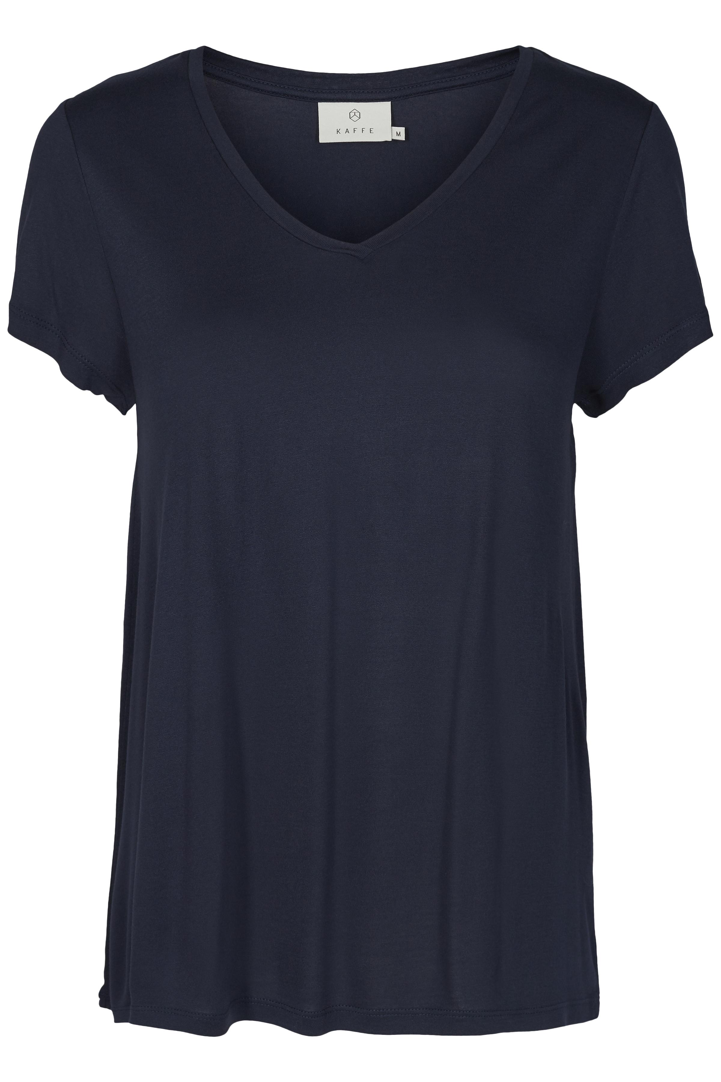 Marineblauw T-shirt korte mouw van Kaffe – Door Marineblauw T-shirt korte mouw van maat. XS-XXL hier