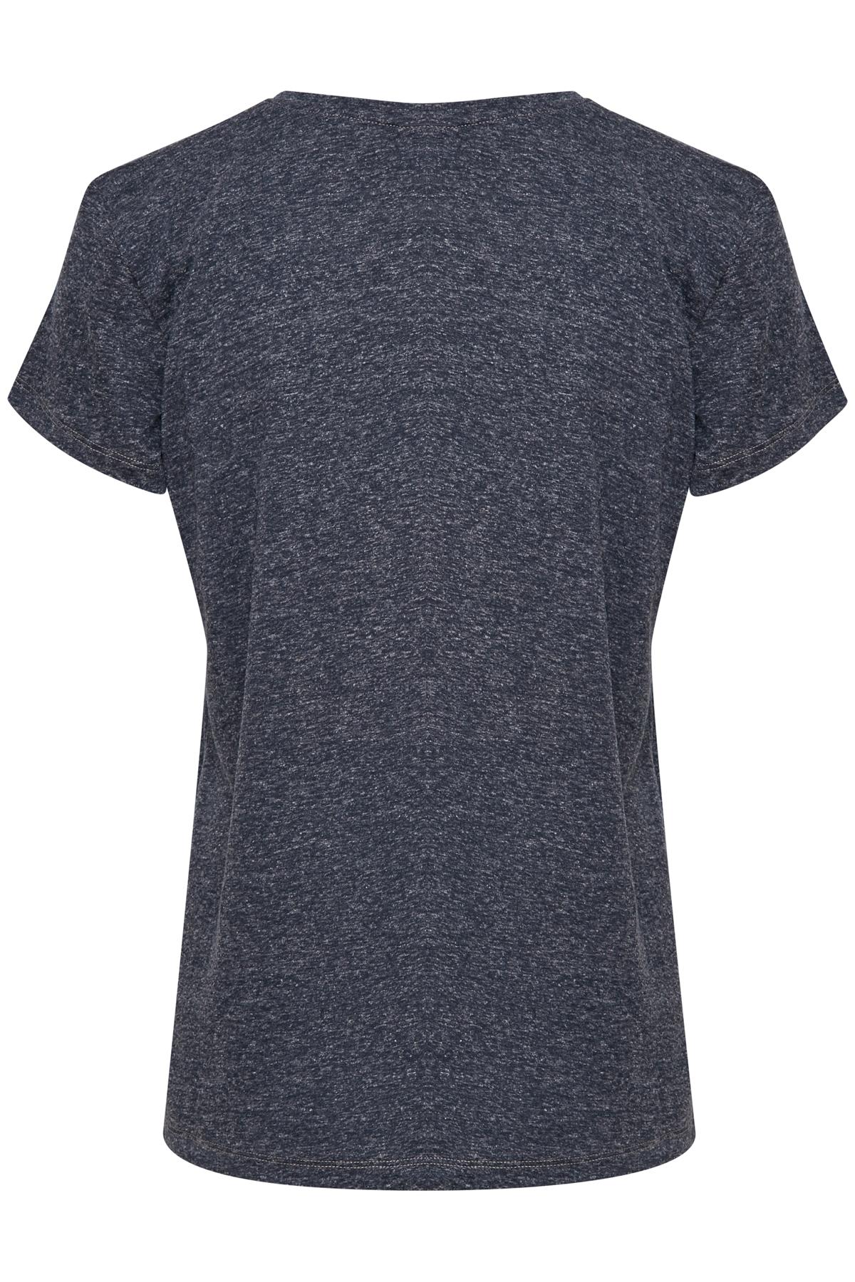 Marineblauw T-shirt lange mouw van Kaffe – Door Marineblauw T-shirt lange mouw van maat. L-XXL hier