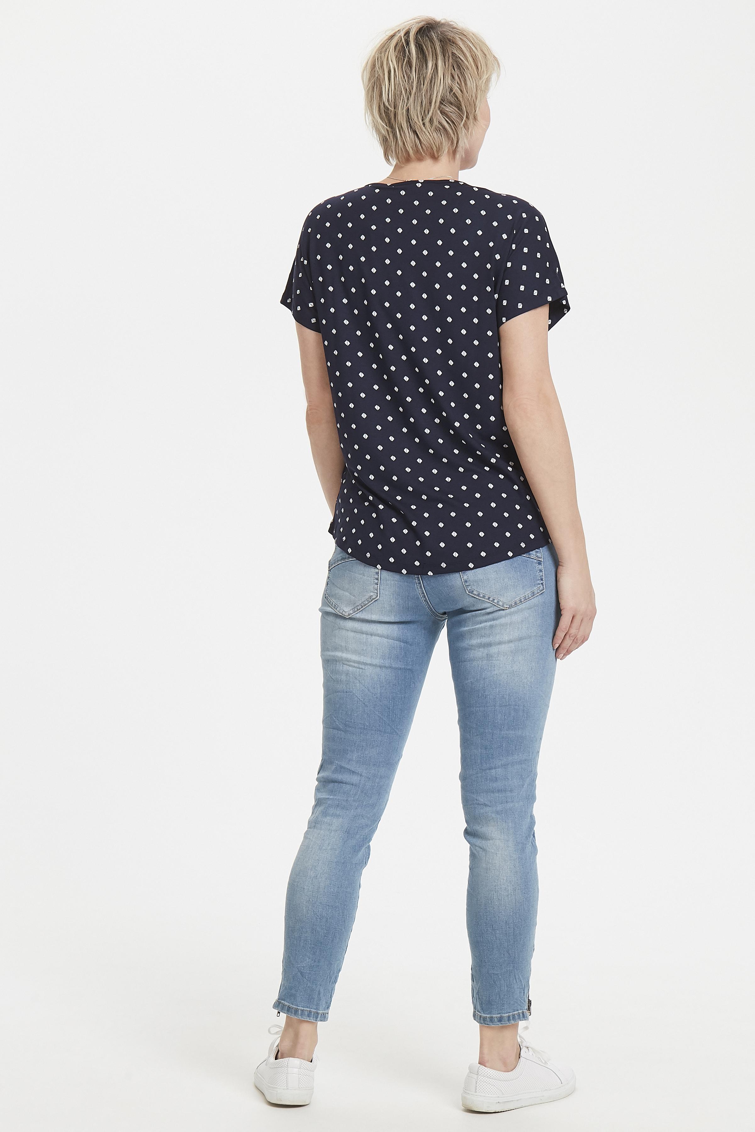 Marineblauw/wit Korte mouwen T-shirt  van Fransa – Door Marineblauw/wit Korte mouwen T-shirt  van maat. XS-XXL hier