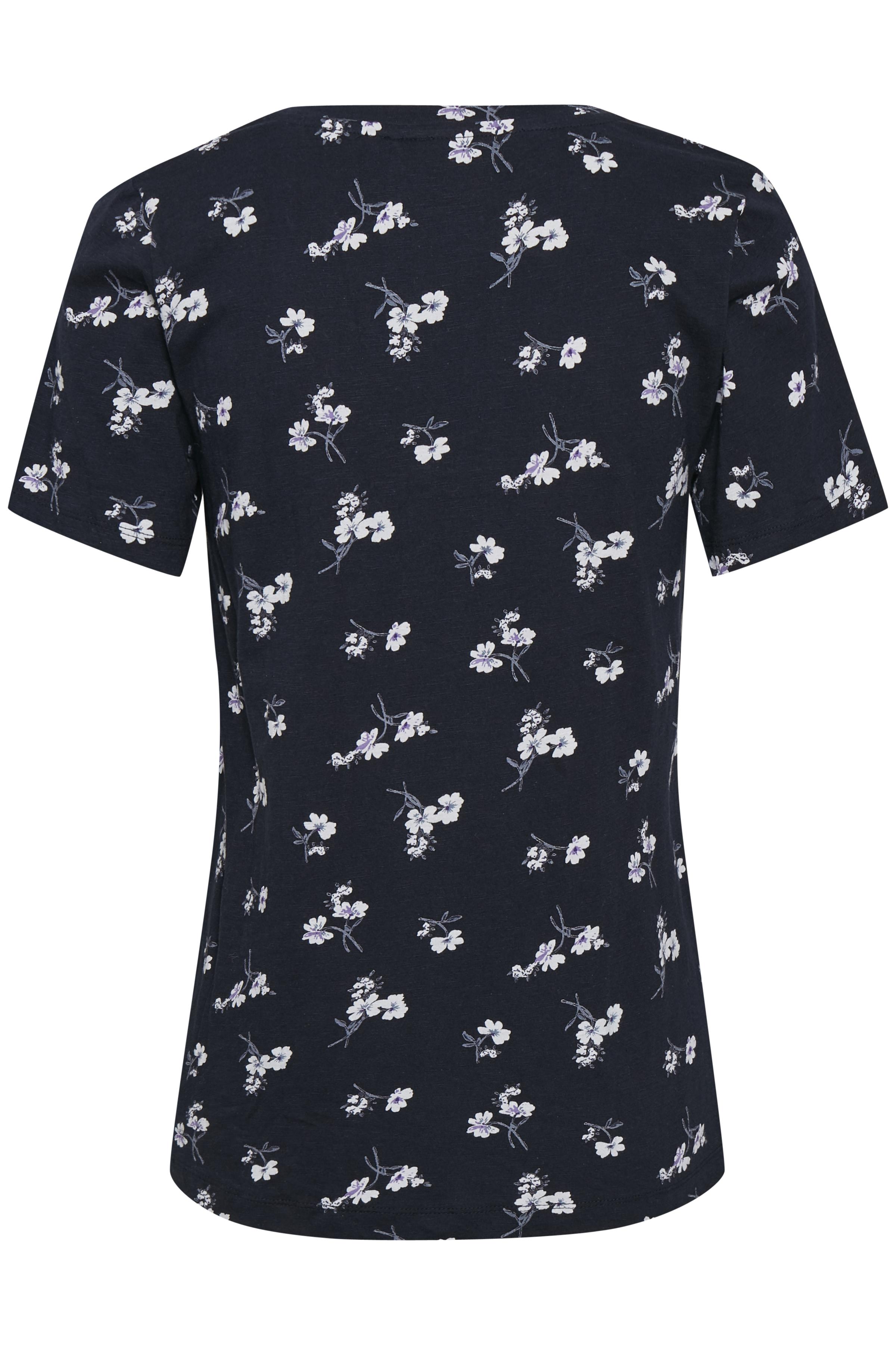 Marineblauw/wit T-shirt korte mouw van Kaffe – Door Marineblauw/wit T-shirt korte mouw van maat. XS-XXL hier