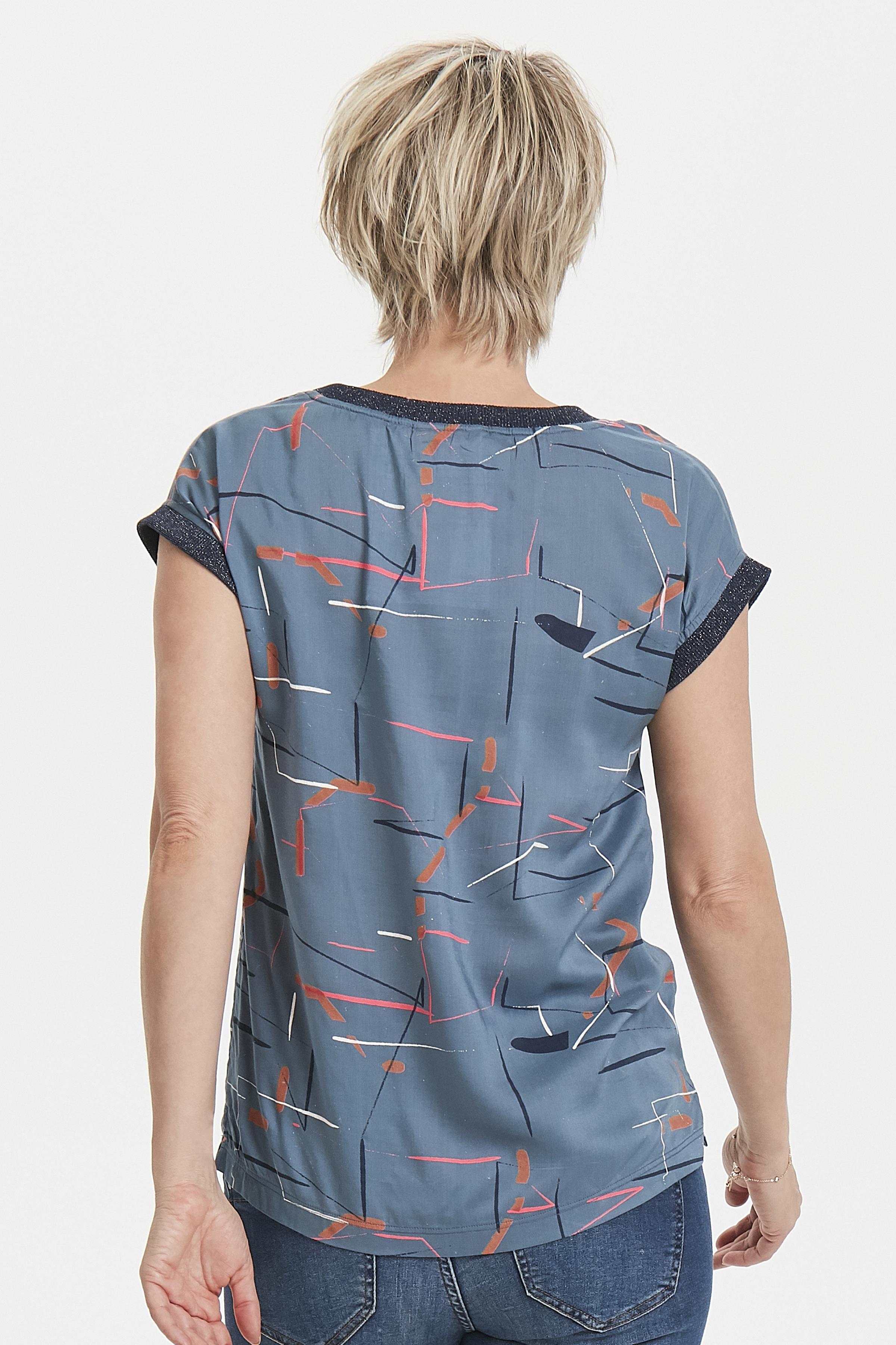 Misty blauw/cerise Korte mouwen shirt  van Bon'A Parte – Door Misty blauw/cerise Korte mouwen shirt  van maat. S-2XL hier