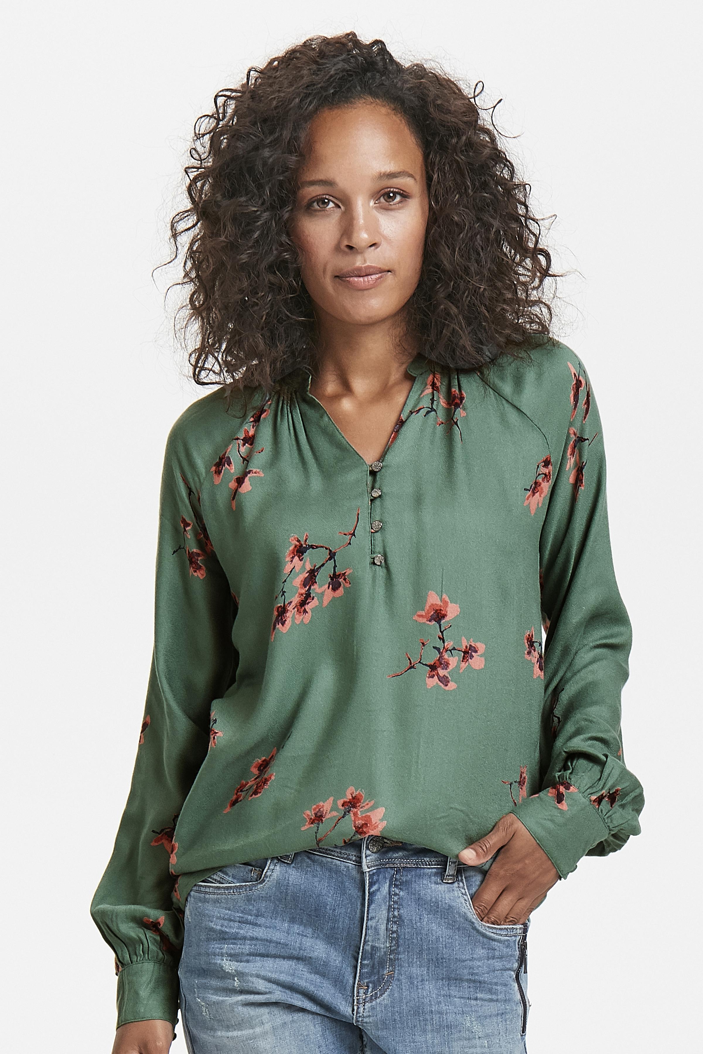 Misty groen/koraalrood Lange mouwen shirt  van Bon'A Parte – Door Misty groen/koraalrood Lange mouwen shirt  van maat. S-2XL hier