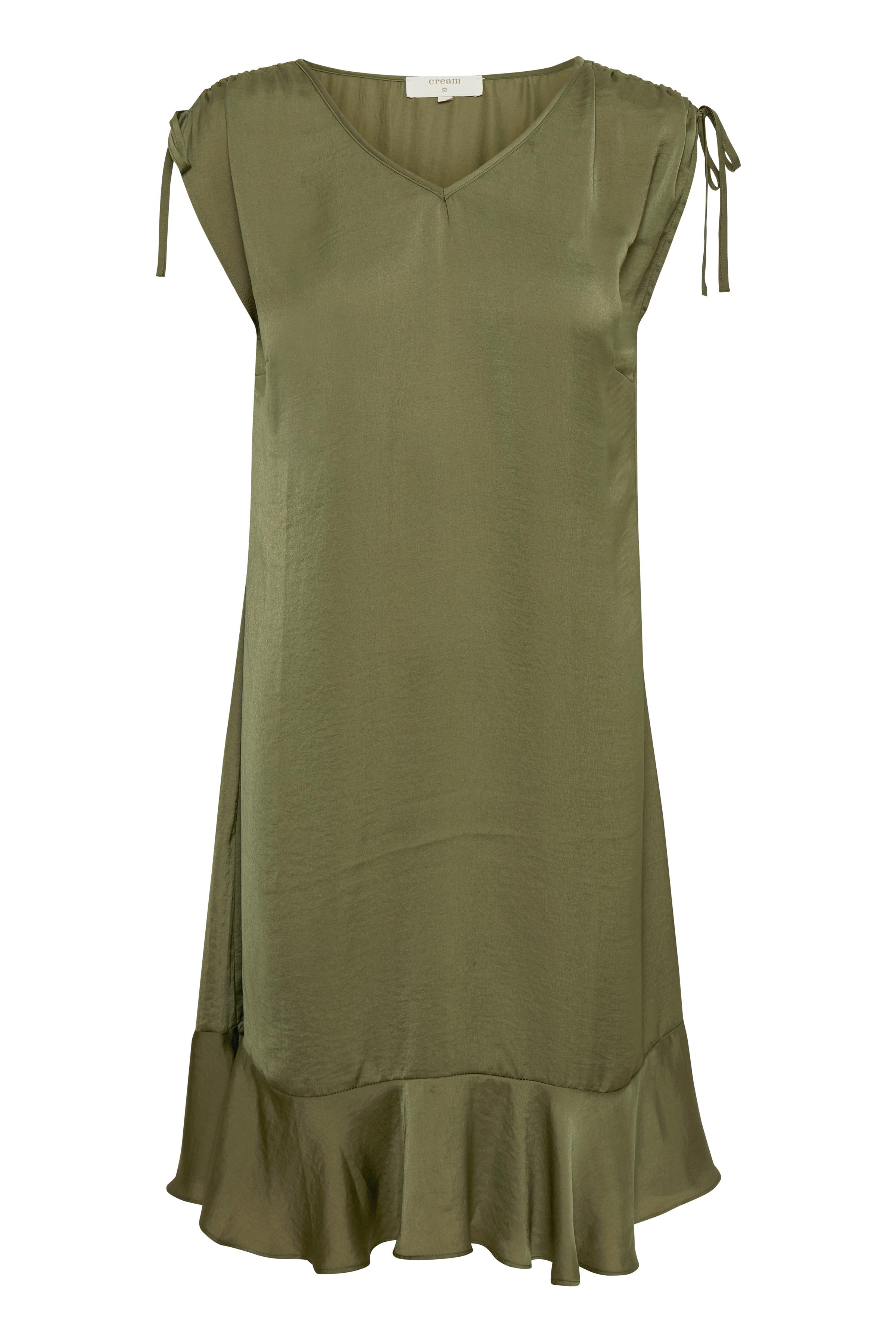 Cream Dame Letvævet kjole - Mørk armygrøn
