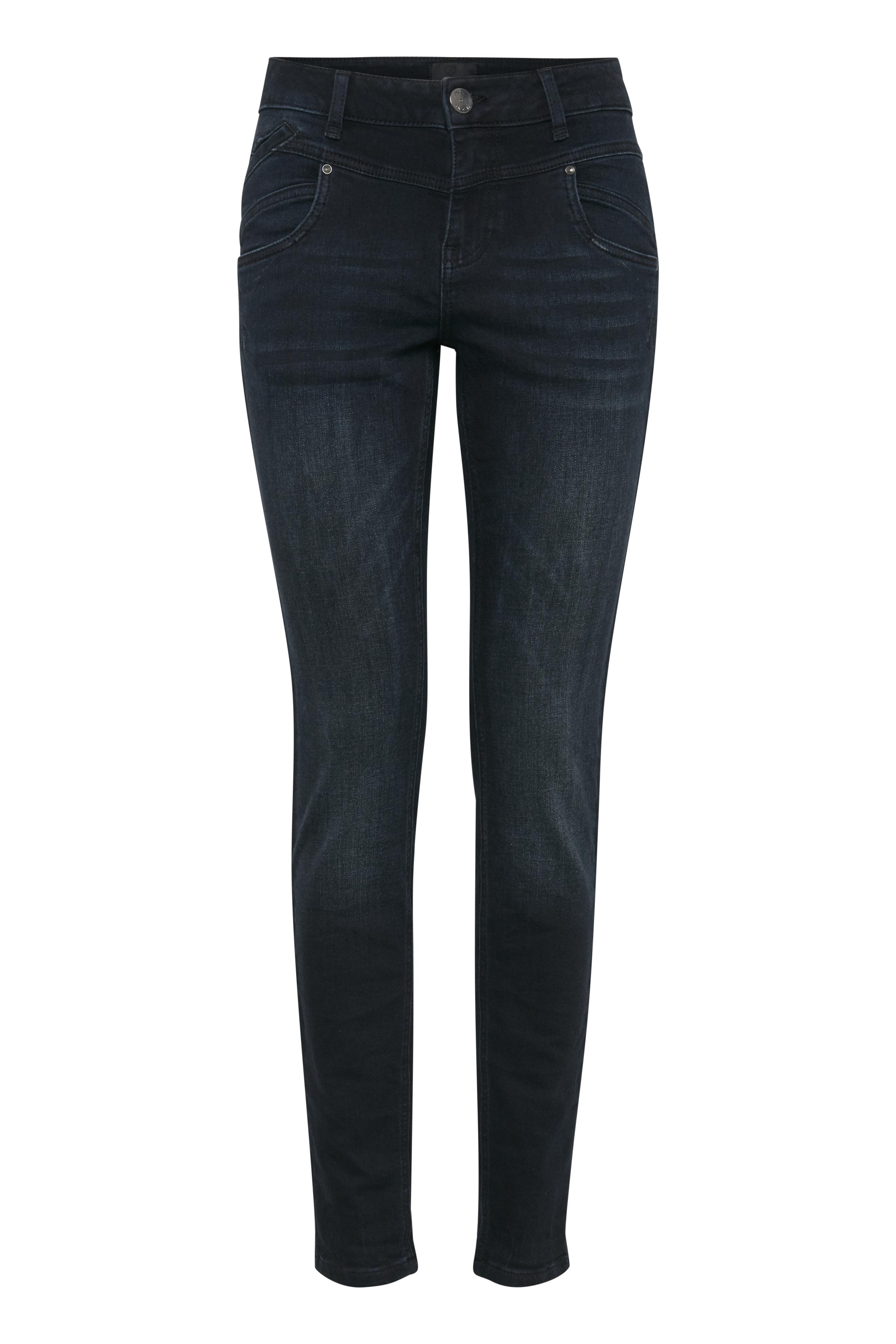 Image of Pulz Jeans Dame Carmen højtaljede jeans - Mørk denimblå