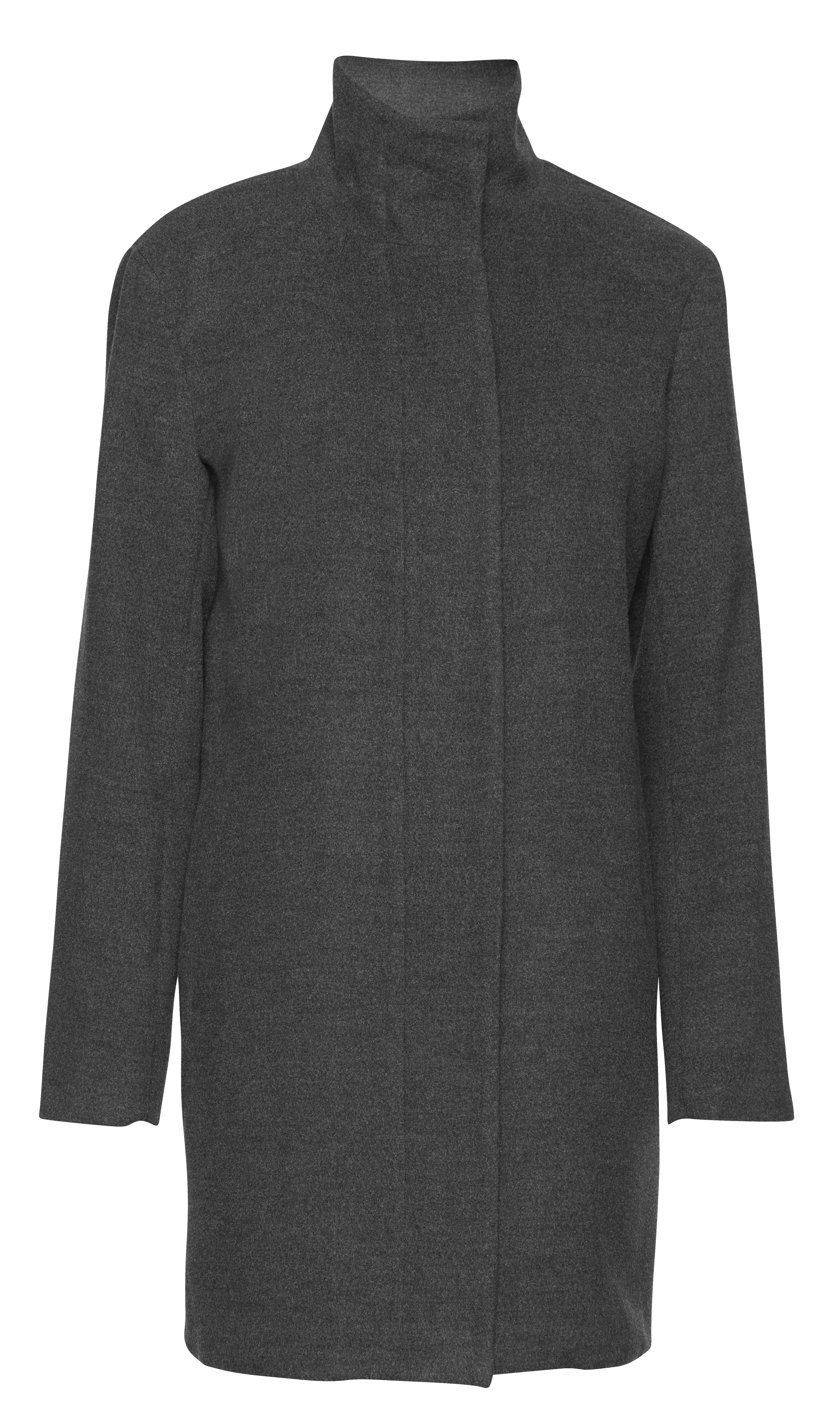 Mørk gråmeleret Frakke fra b.young – Køb Mørk gråmeleret Frakke fra str. 34-46 her