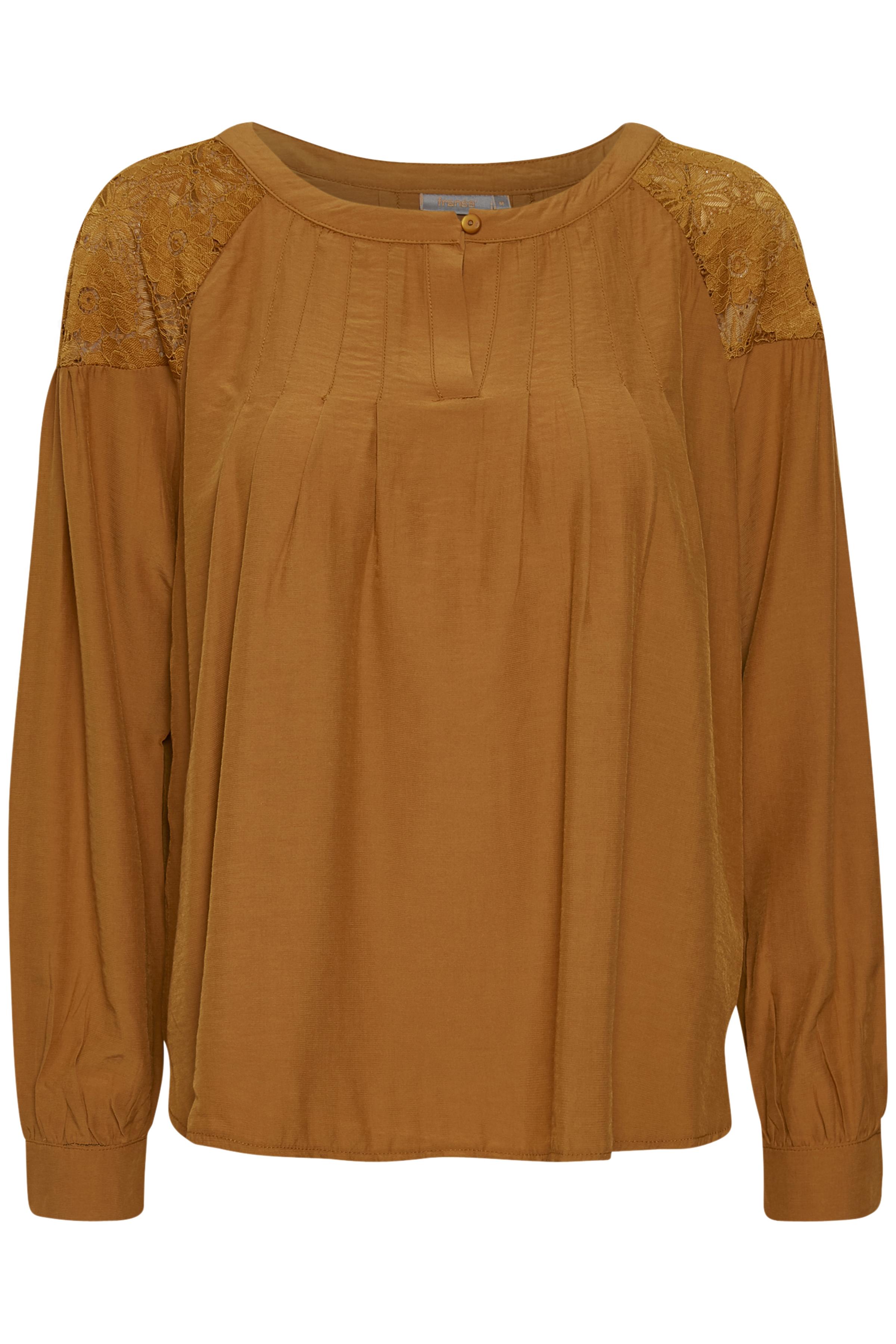 Mørk karry Langærmet bluse fra Fransa – Køb Mørk karry Langærmet bluse fra str. XS-XXL her