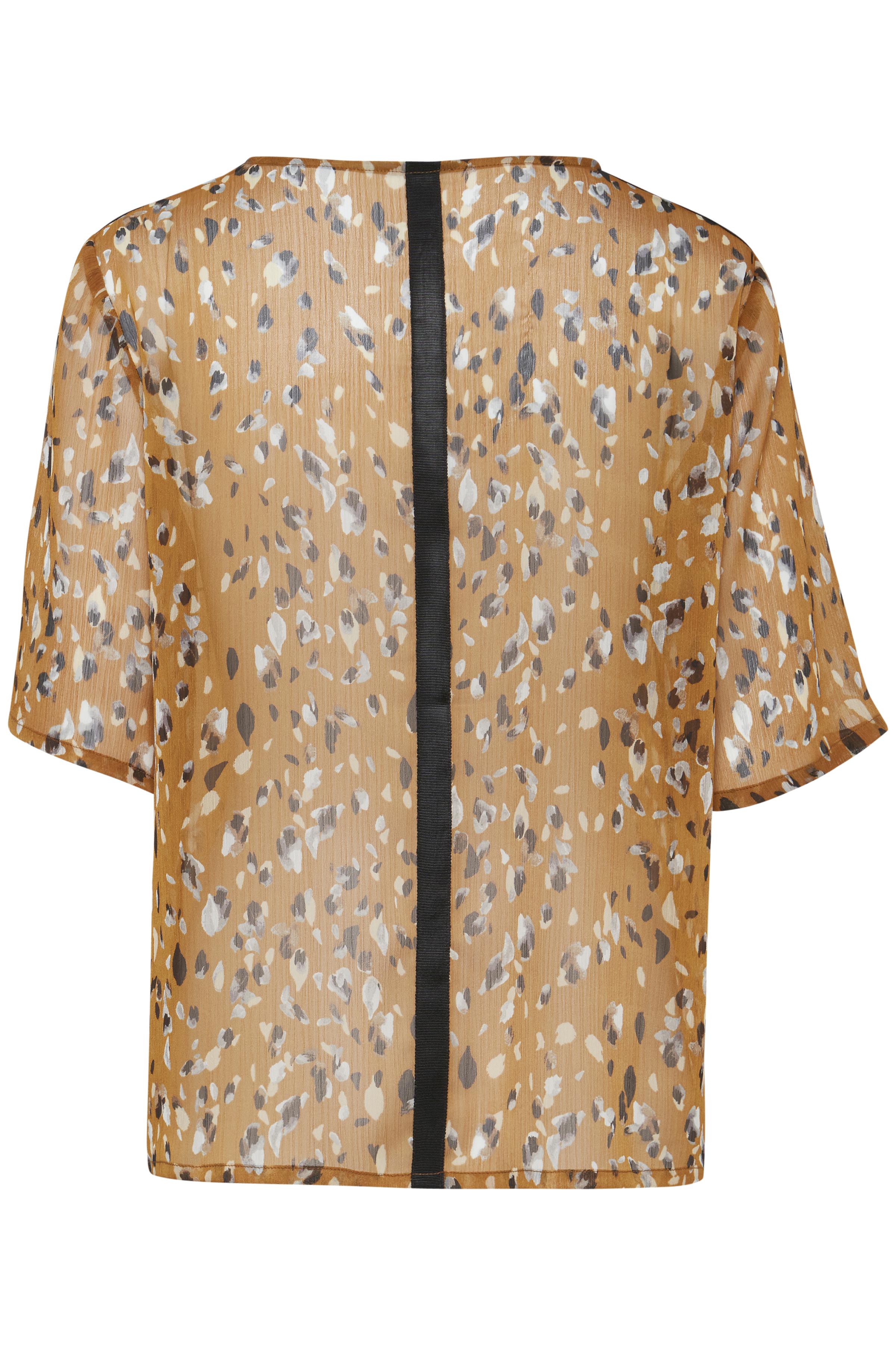 Mørk karry/off-white Kortærmet bluse fra Pulz Jeans – Køb Mørk karry/off-white Kortærmet bluse fra str. XS-XXL her