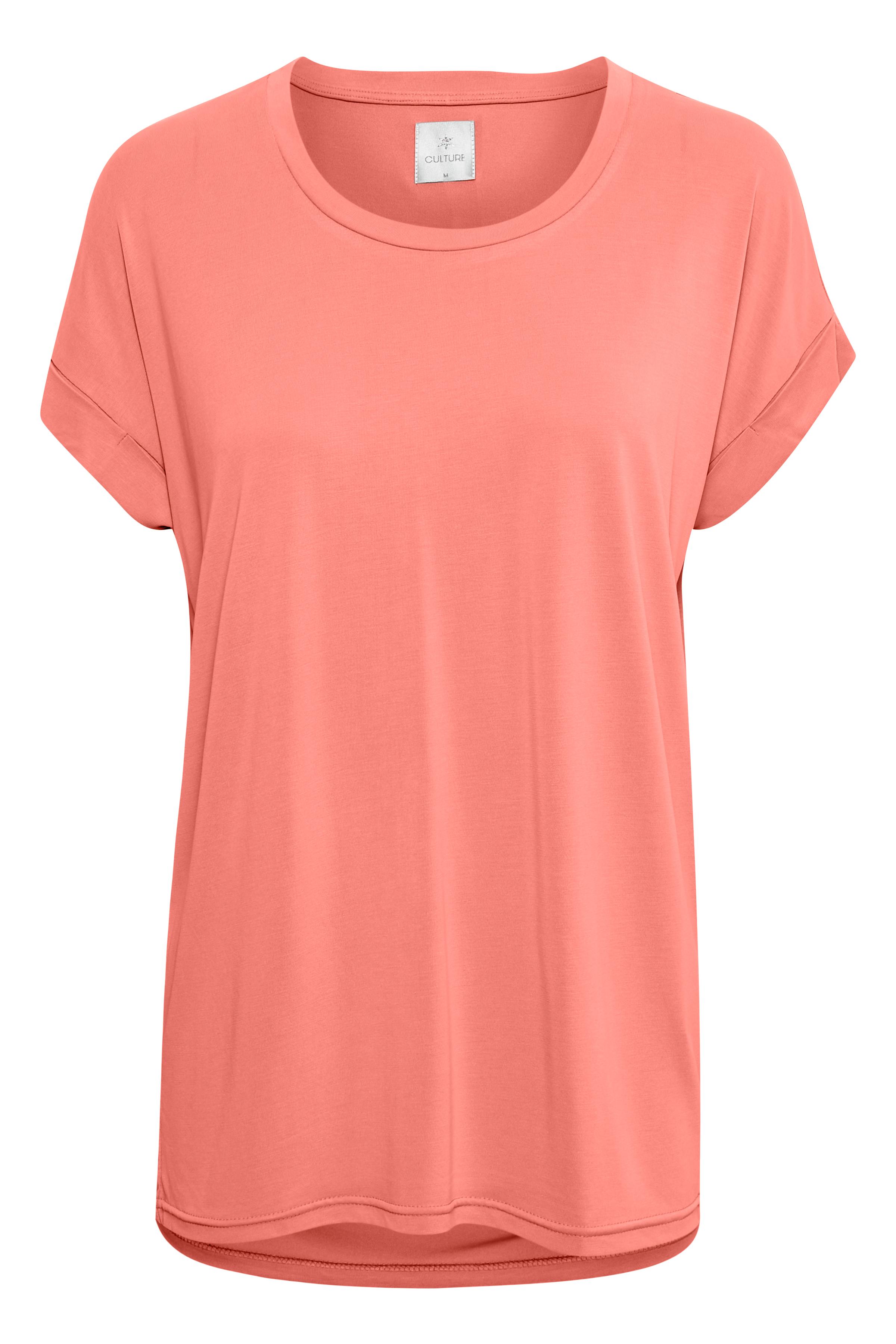 Mørk koral Kortærmet T-shirt fra Culture – Køb Mørk koral Kortærmet T-shirt fra str. XS-XXL her